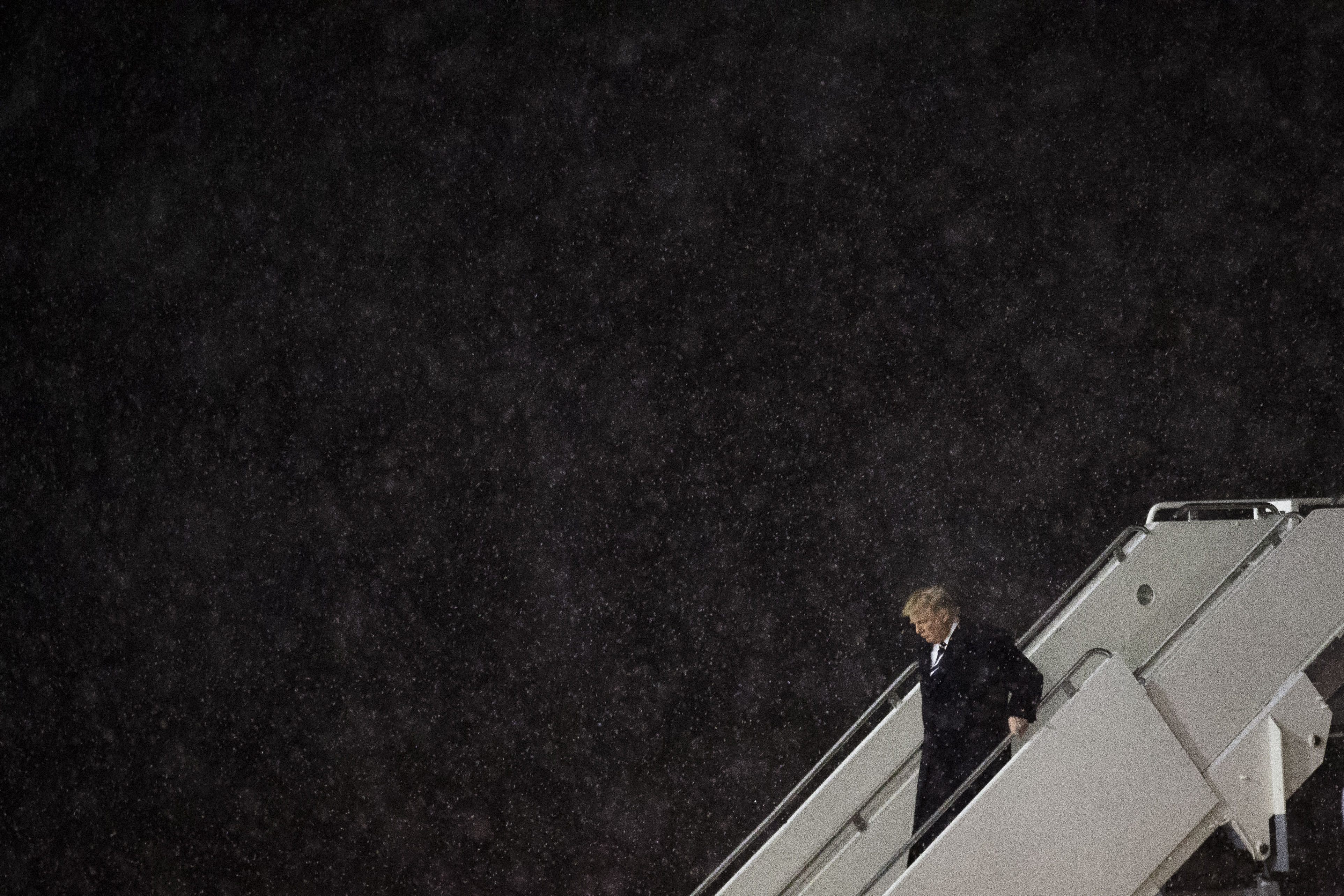 Donald Trump departs his plane at Gerald R. Ford International Airport, in Grand Rapids, MI, on Dec. 9, 2016.