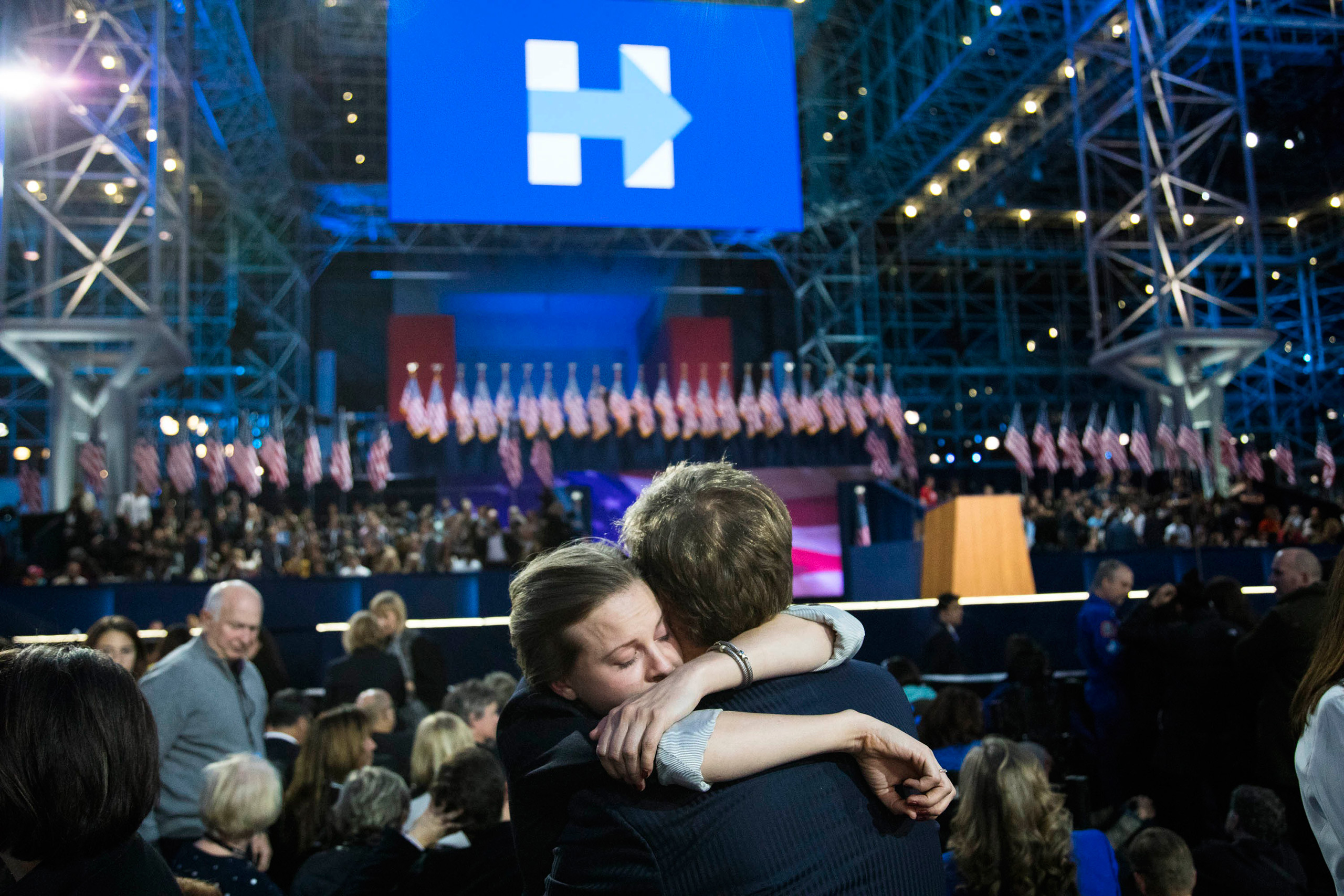 Supporters attend an election night party for Democratic nominee Hillary Clinton on Nov. 8, 2016 at the Javits Center in New York City.From  A Momentous Election Day: The Best Photographs