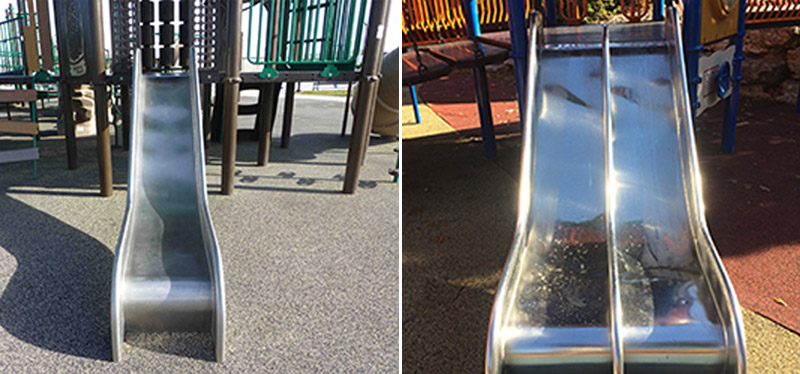 These images, courtesy of Playworld, show the Lightning Slide stainless steel playground slides recalled by Playworld on Dec. 6, 2016.
