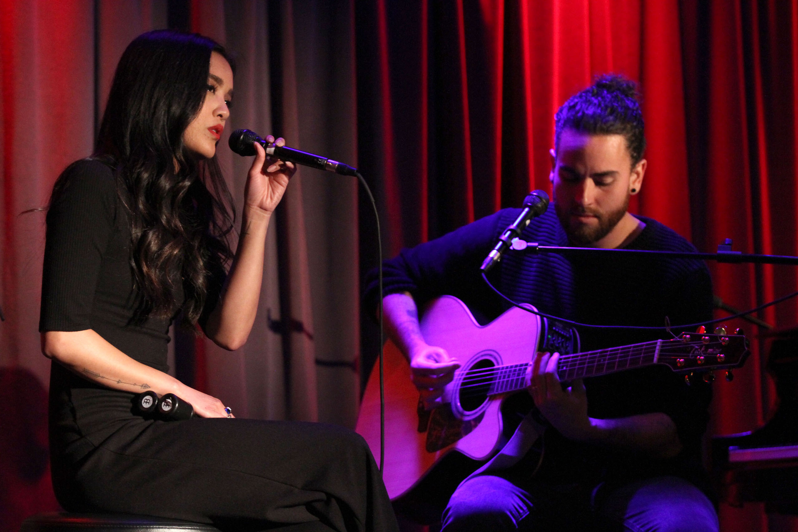 Musicians Carissa Alvarado and Michael  Alvarado of Us the Duo perform at The GRAMMY Museum in Los Angeles, California, on Dec. 14, 2016.