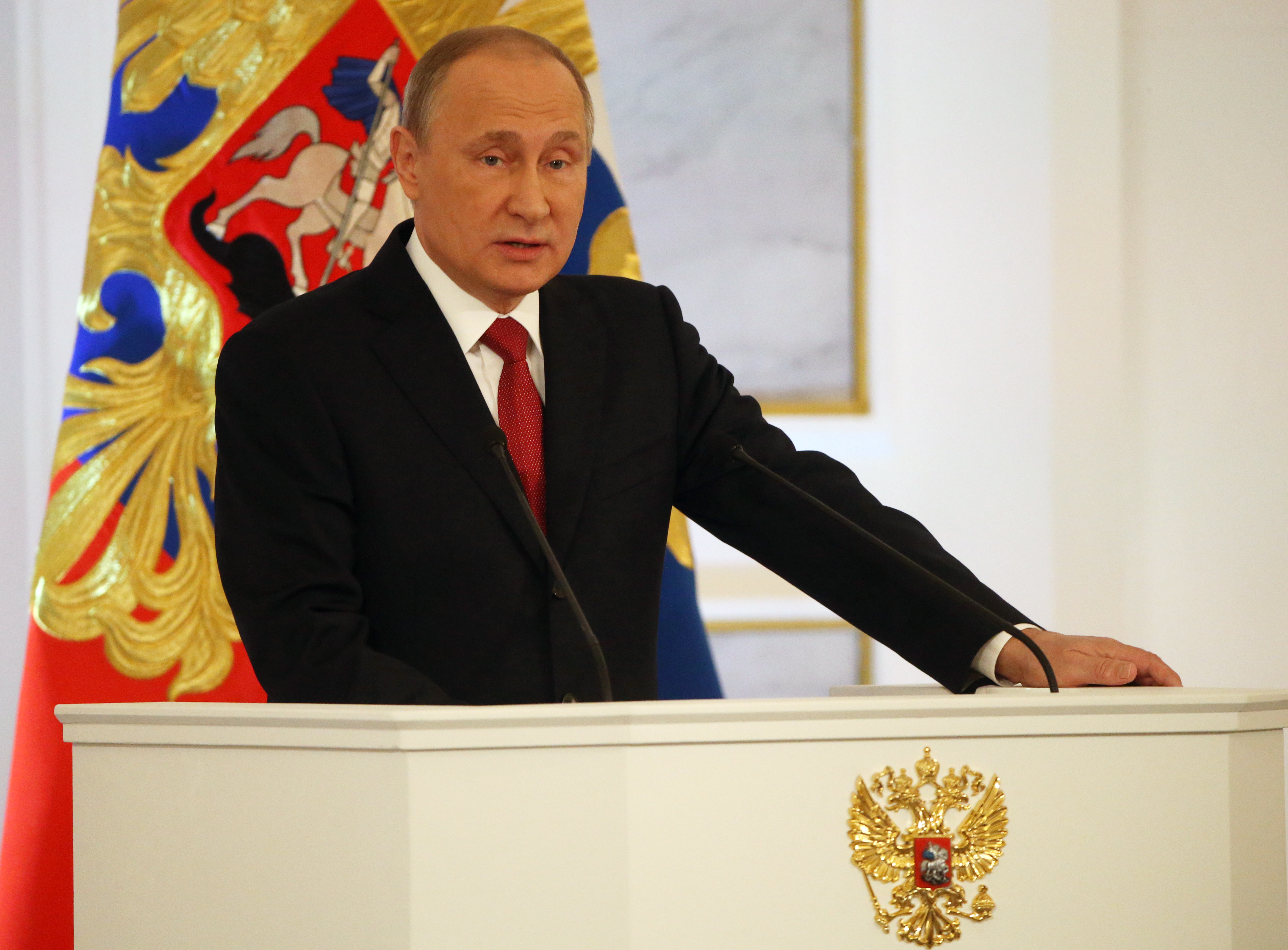 Russian President Vladimir Putin delivers his annual speech to the Federal Assembly at Grand Kremlin Palace on Dec. 1 in Moscow, Russia.