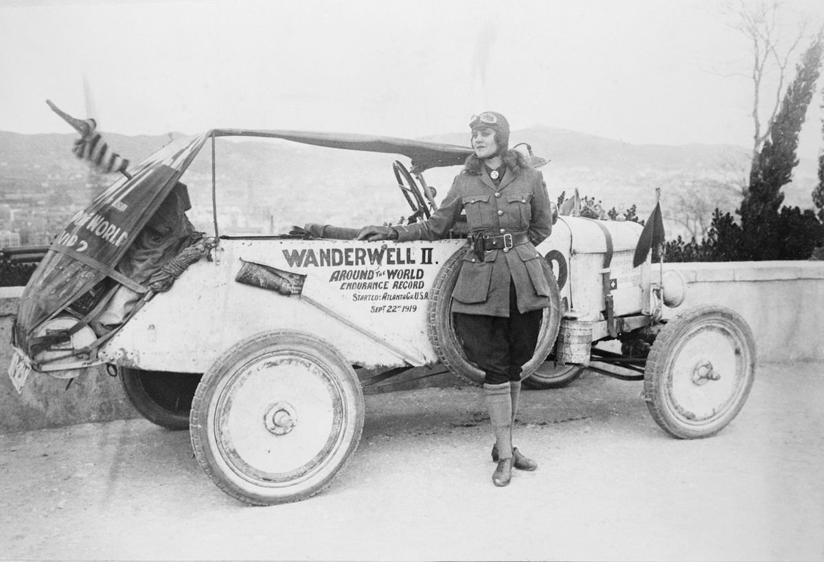 Miss Wanderwell reaches Barcelona during her attempt to set an endurance record by driving a motor car around the world. She set off from Atlanta in September 1919.