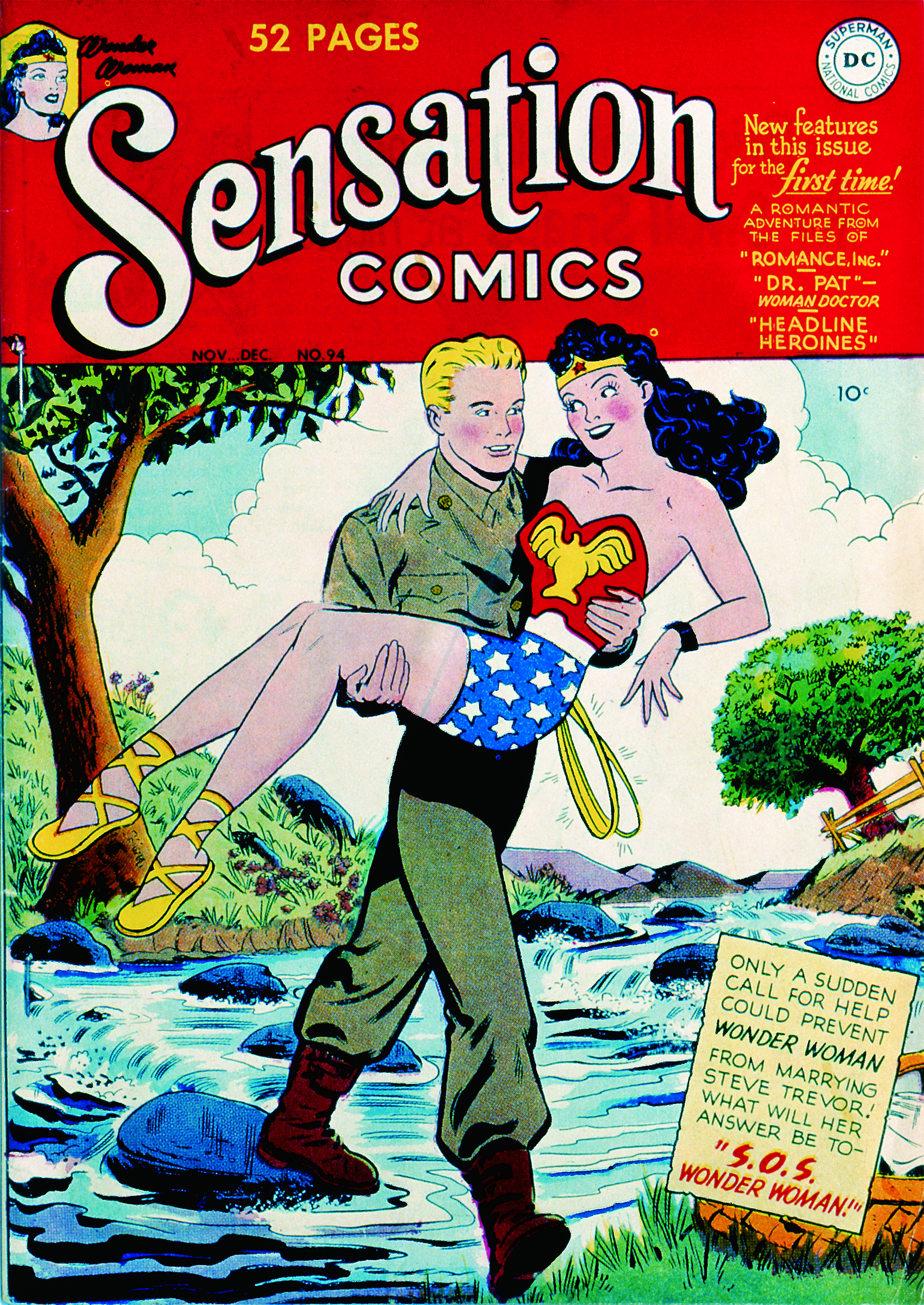 1949: After Marston's death, DC strips Wonder Woman of her powers, making her a model and a babysitter. Women's-history sidebars in the comics are replaced with wedding advice.