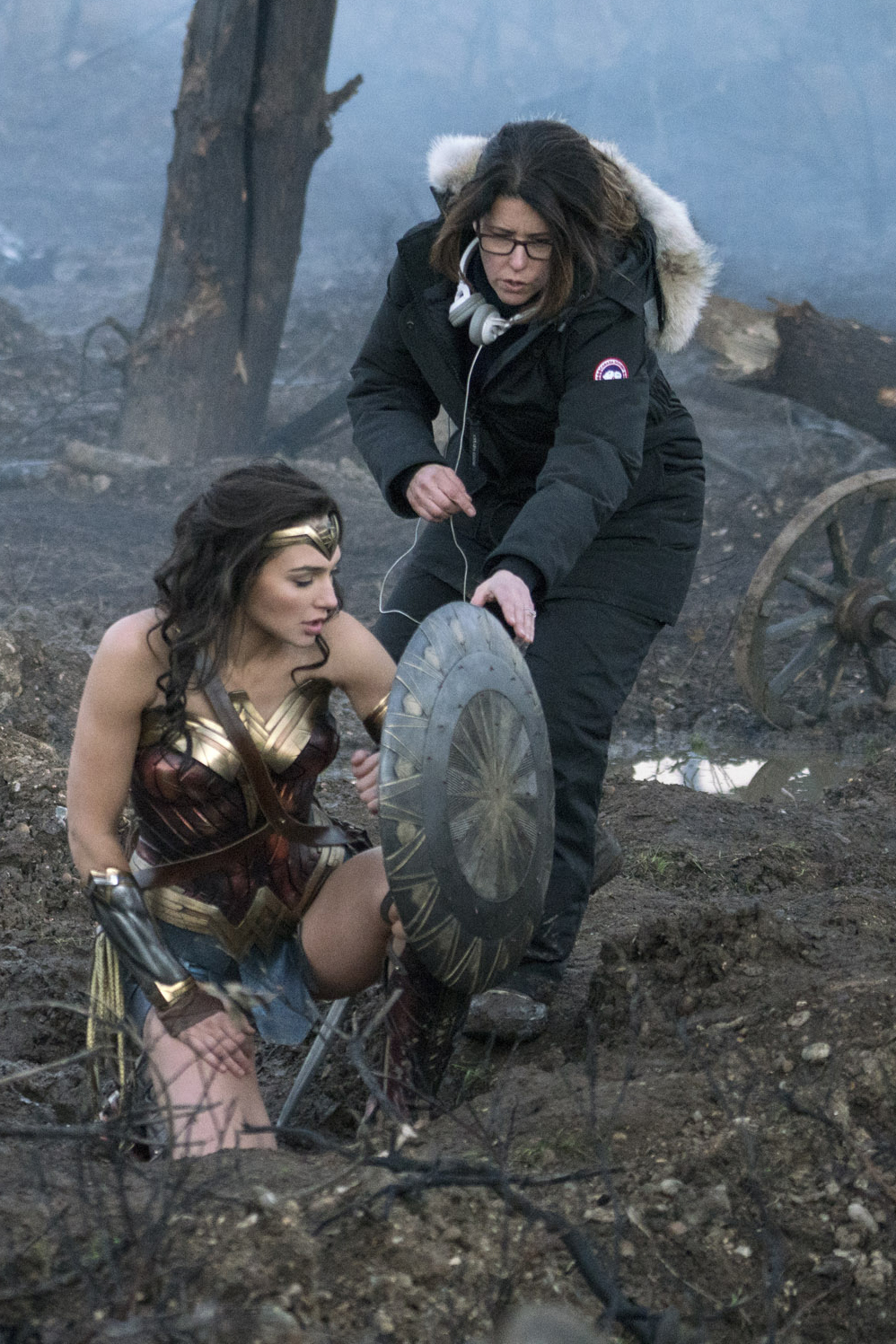 Gal Godot and director Patty Jenkins on the set of 'Wonder Woman'.