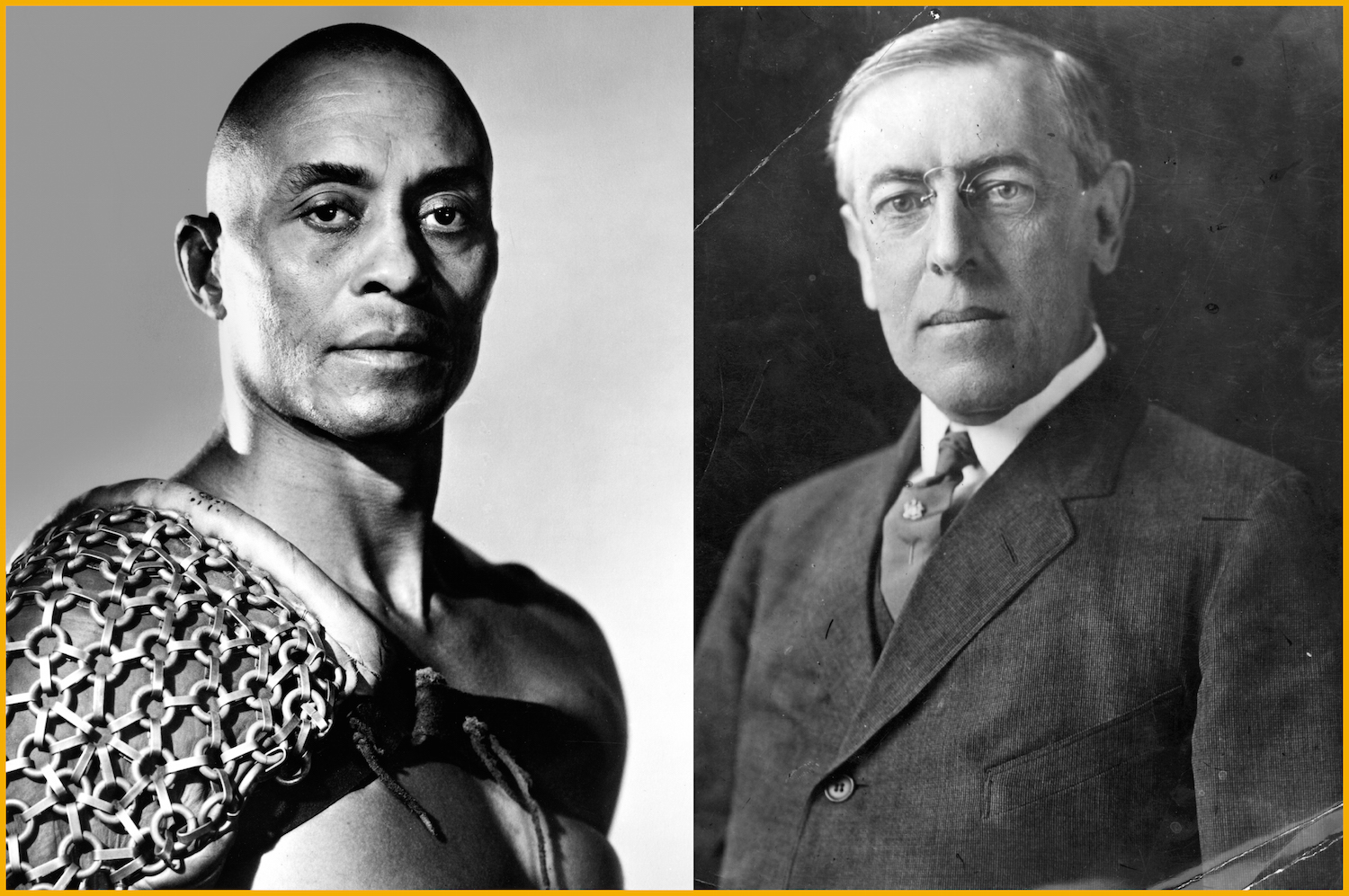 American actor Woody Strode in Stanley Kubrick's film 'Spartacus' (L) and the person after whom he was named: Woodrow Wilson, the 28th President of the United States of America.