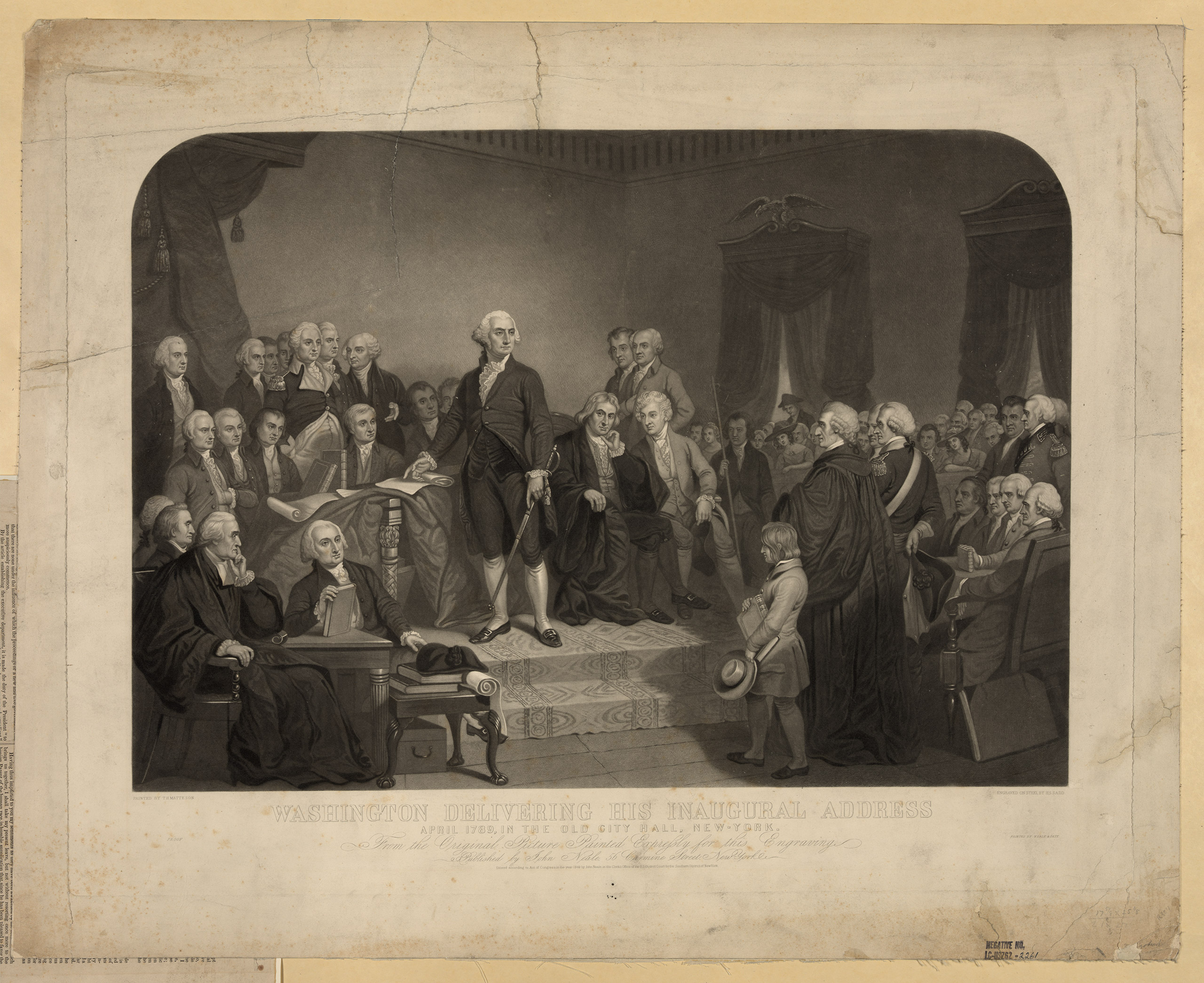 George Washington delivering his first inaugural address, 1789.