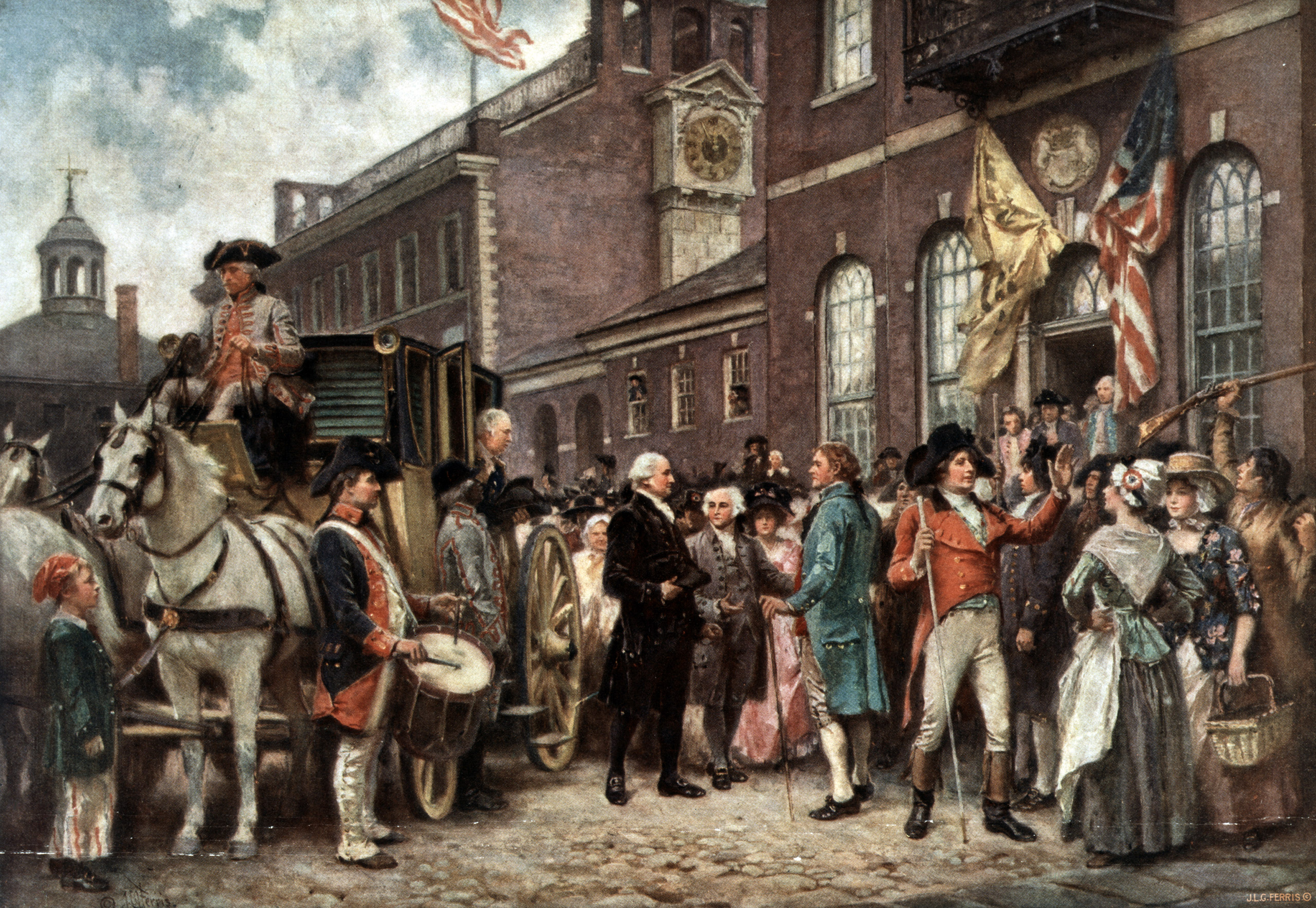 George Washington arriving at Congress Hall in Philadelphia, March 4, 1793 for his second inauguration.