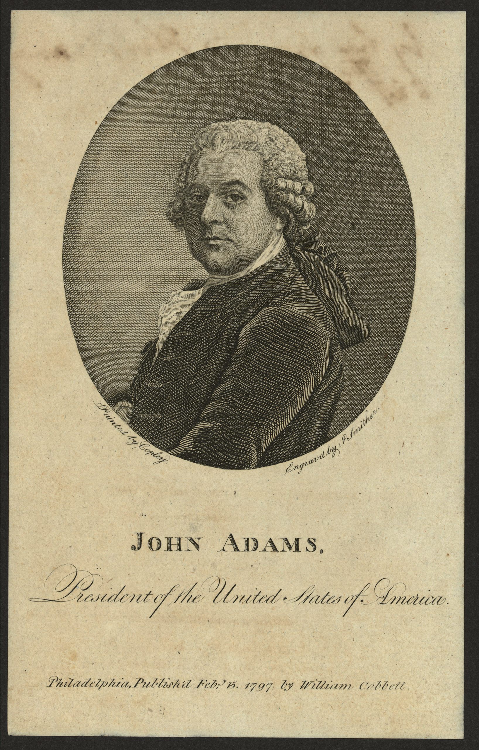 John Adams, the year of his inauguration in 1797.