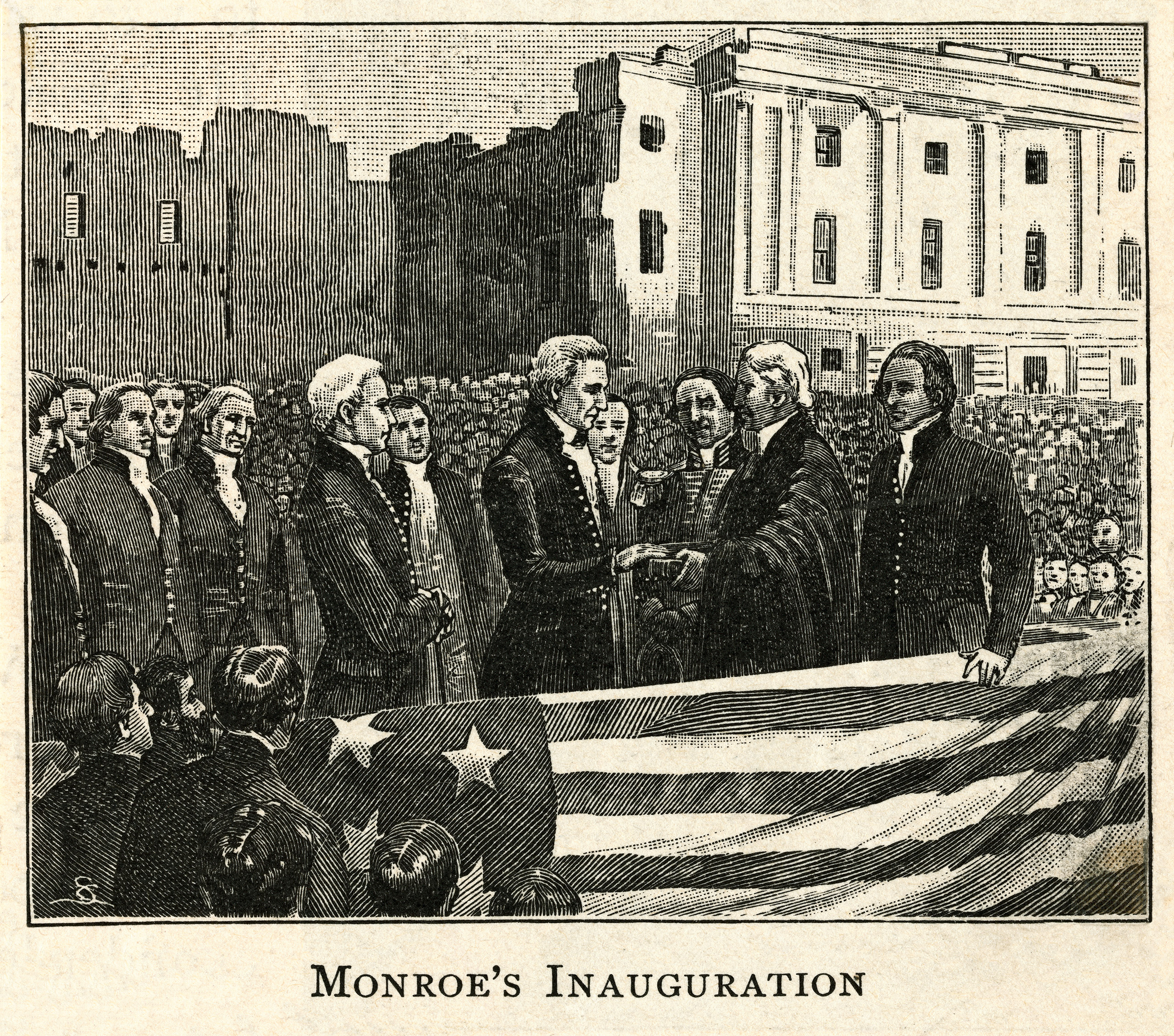 James Monroe's Inauguration as U.S. fifth President, 1817.