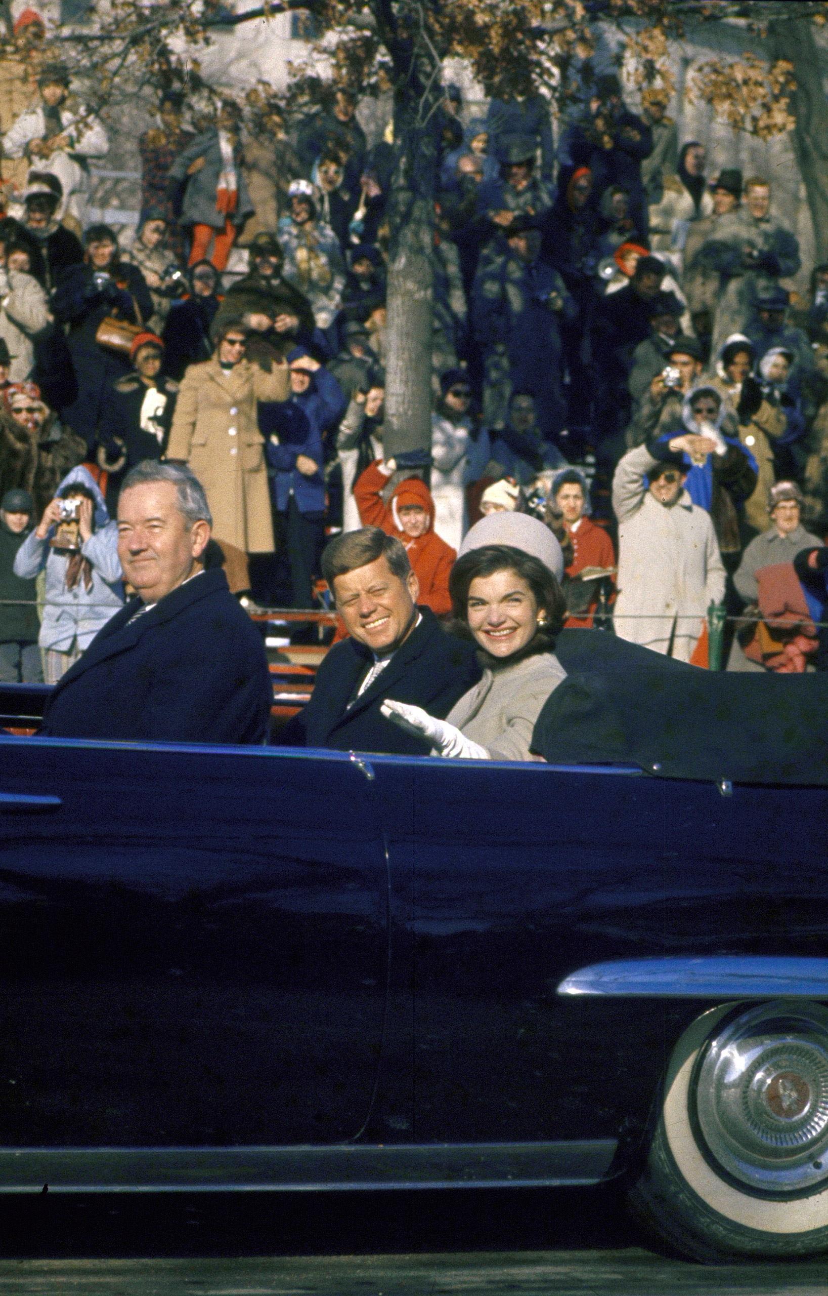 President John Kennedy and wife Jacqueline during the Inauguration Day Parade, 1961.