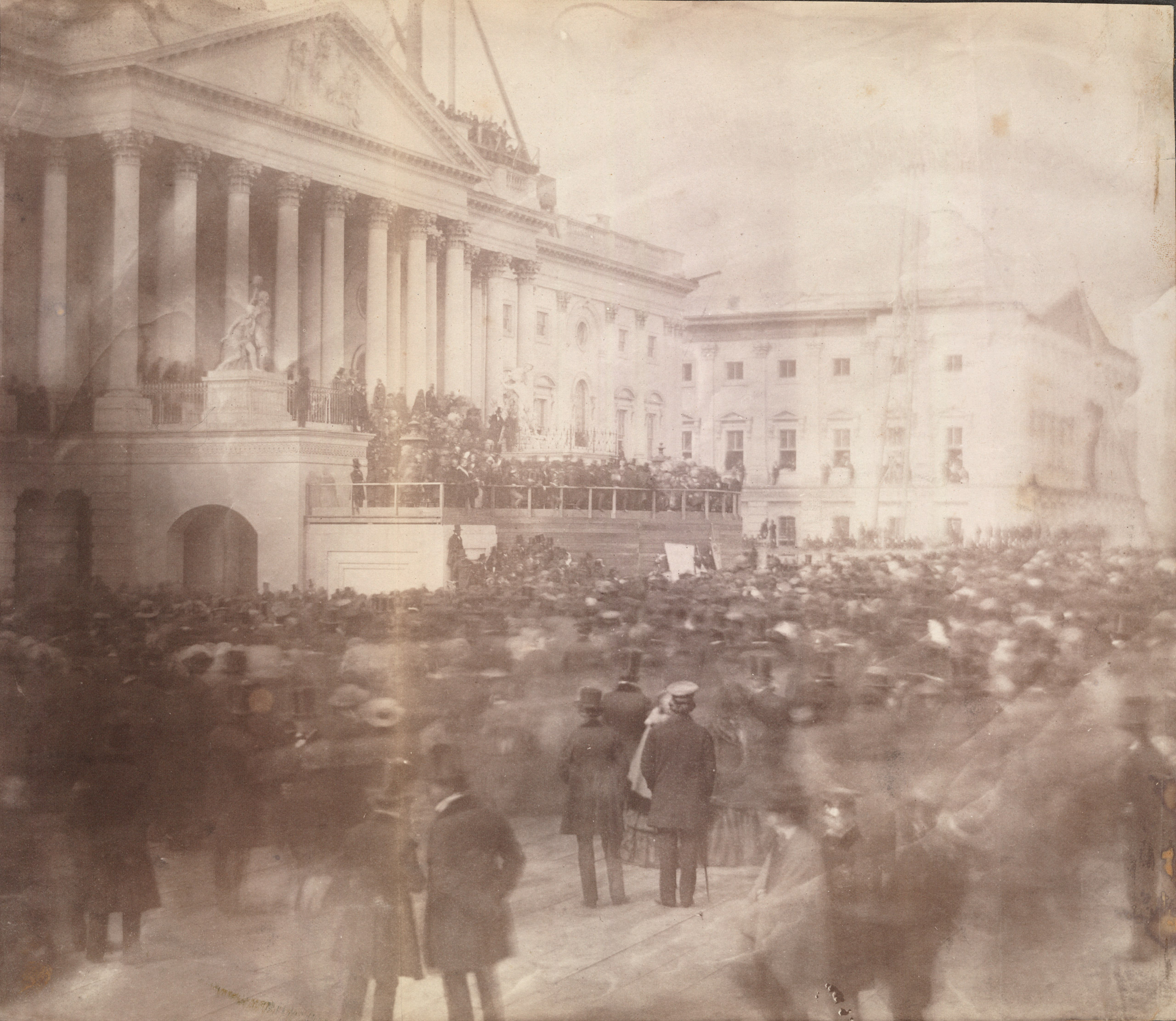First photograph of an inaugration at the Capitol, James Buchanan, 1857.