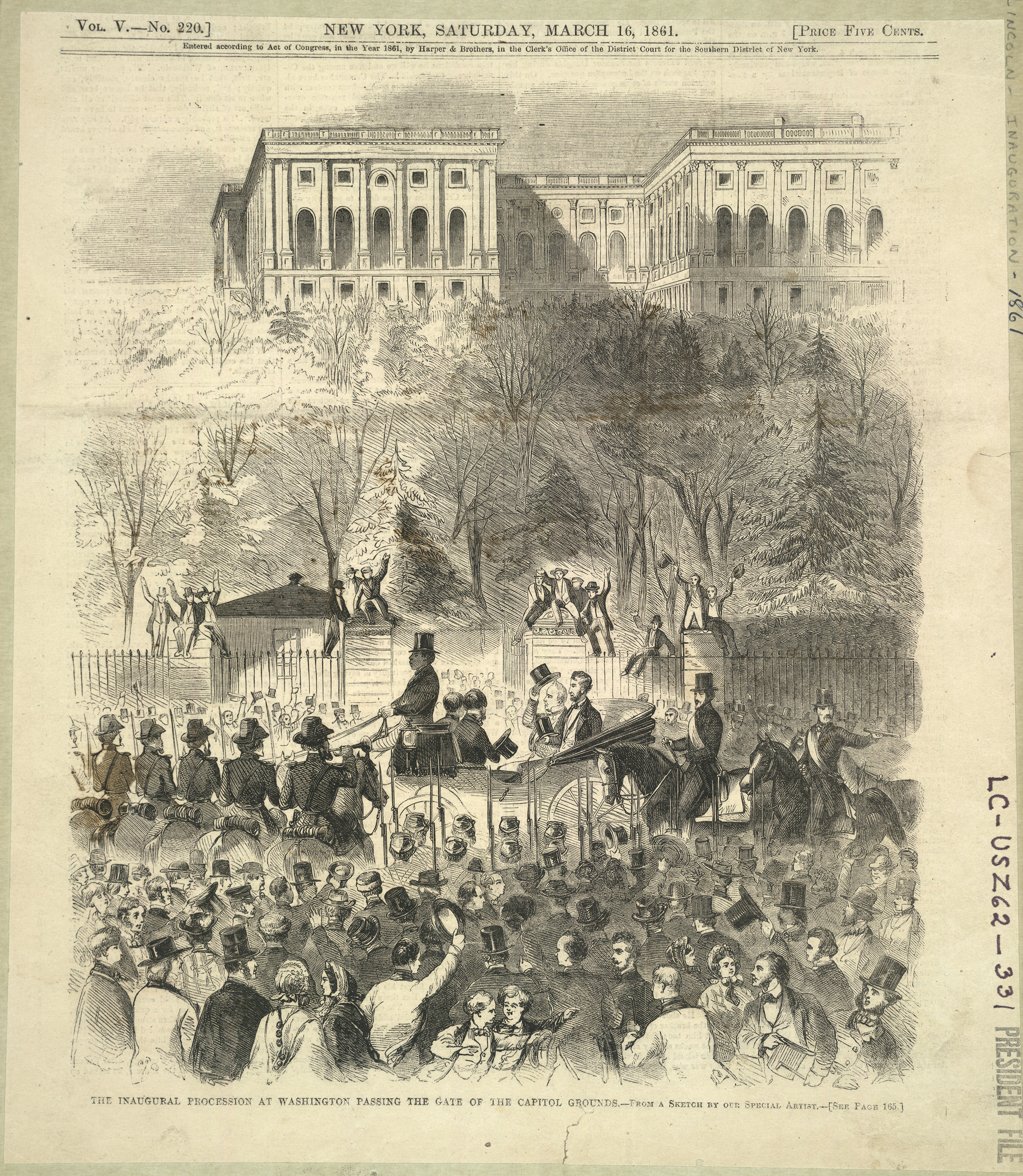 President-elect Abraham Lincoln and President Buchanan (tipping his top hat) amidst cheering crowd before west gate at base of Capitol grounds, on their way to the Capitol for Lincoln's first inauguration, 1861.