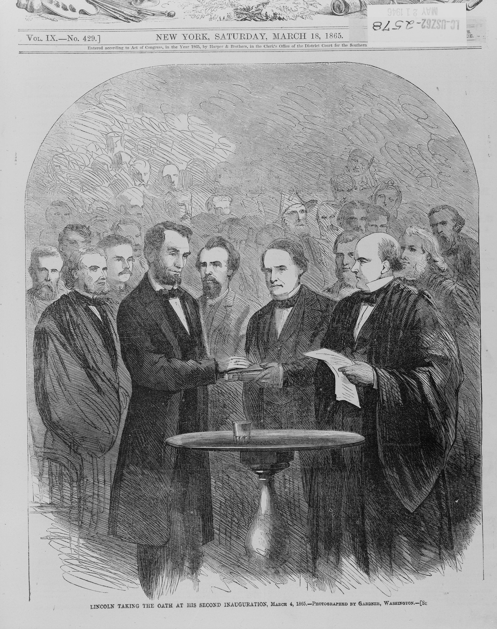 Abraham Lincoln taking the oath at his second inauguration, March 4, 1865.
