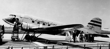 The TWA DC-3 Sky Club shown is identical to the ship that crashed into Mt. Potosi, Nevada January 16, 1942.