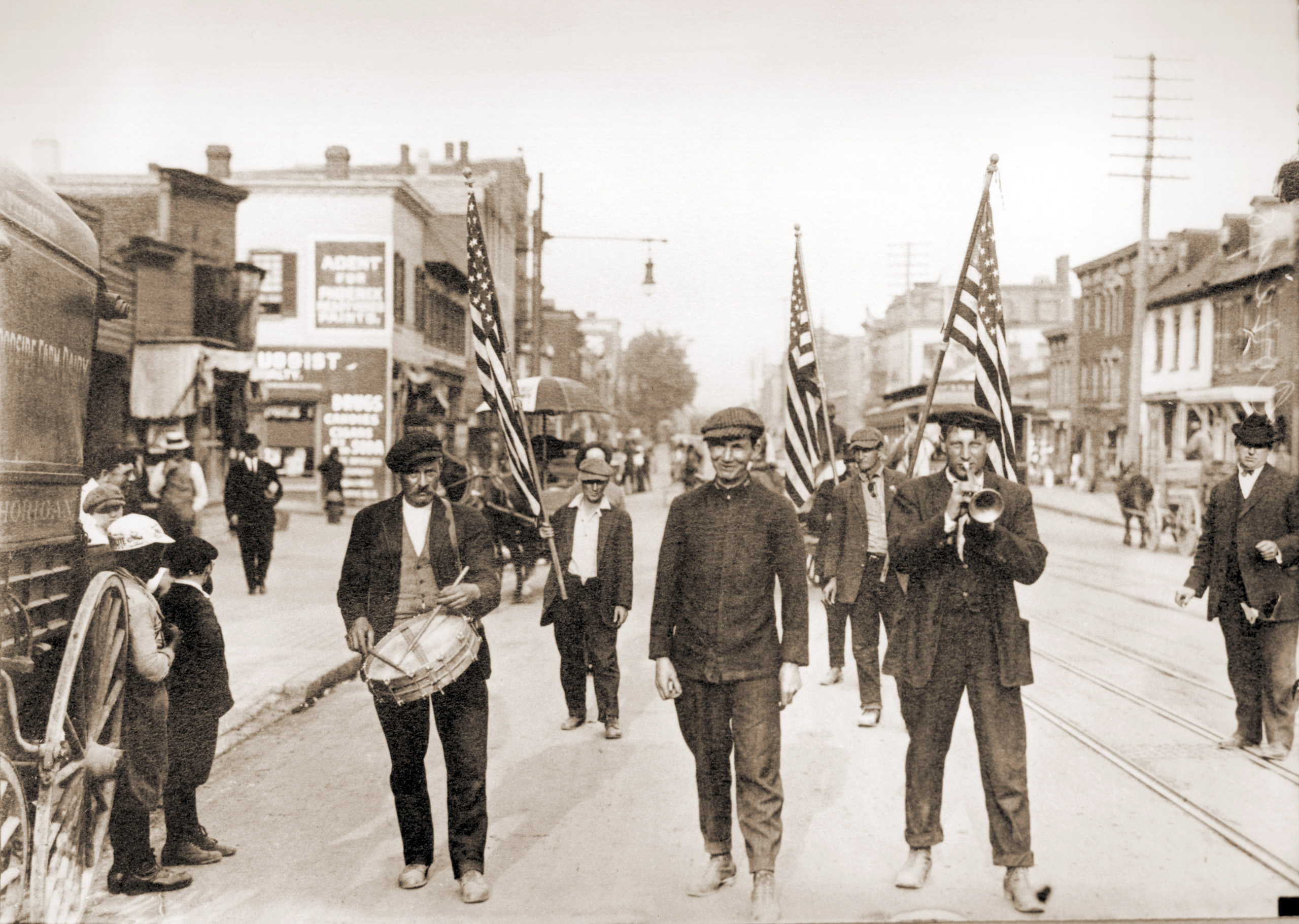 American politician Jacob Coxey leads a group of men on a march from Massillon, Ohio, to Washington, D.C., in protest of unemployment, 1894.