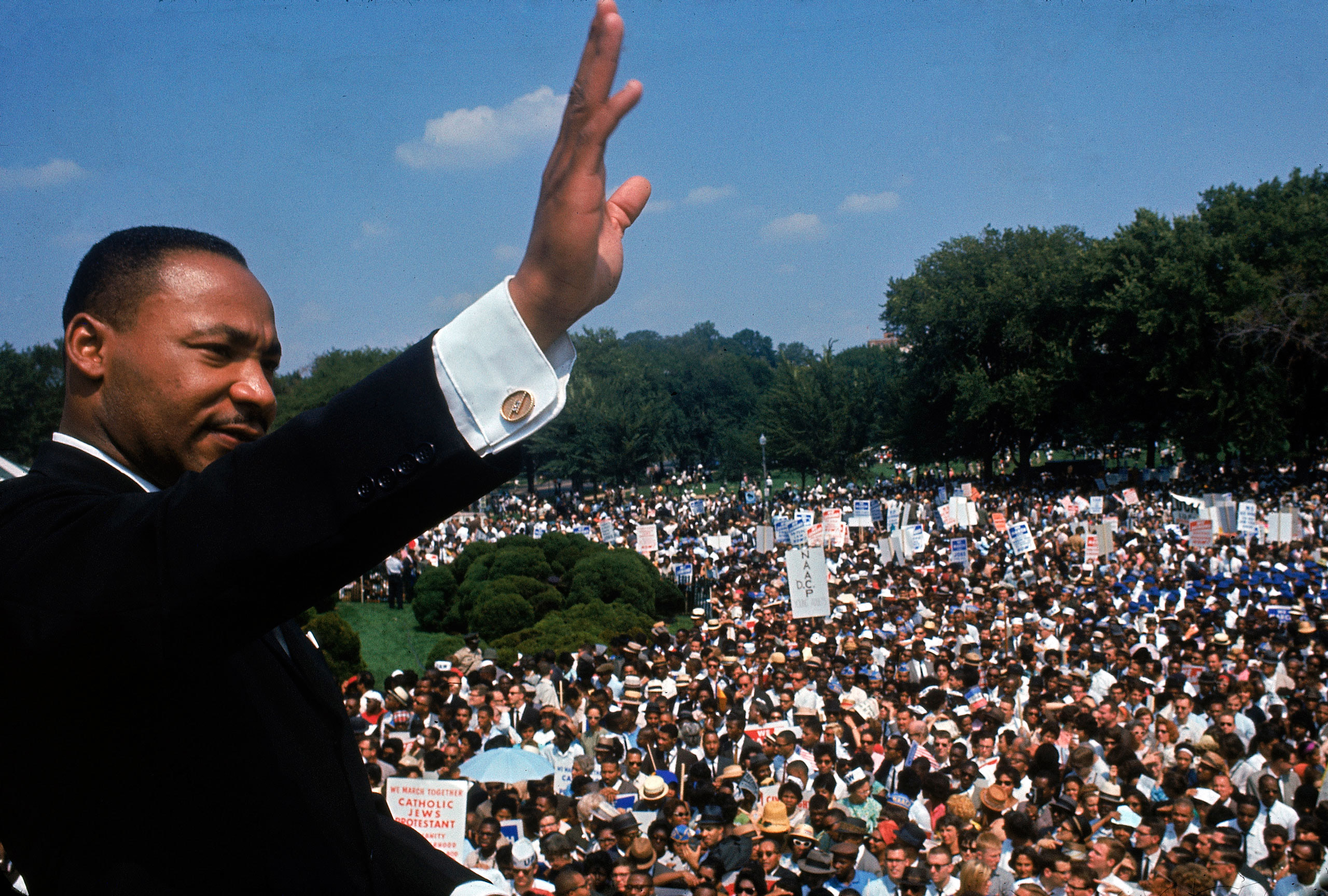 Martin Luther King Jr. addresses the crowd during the March on Washington for Jobs and Freedom, Aug. 28, 1963.