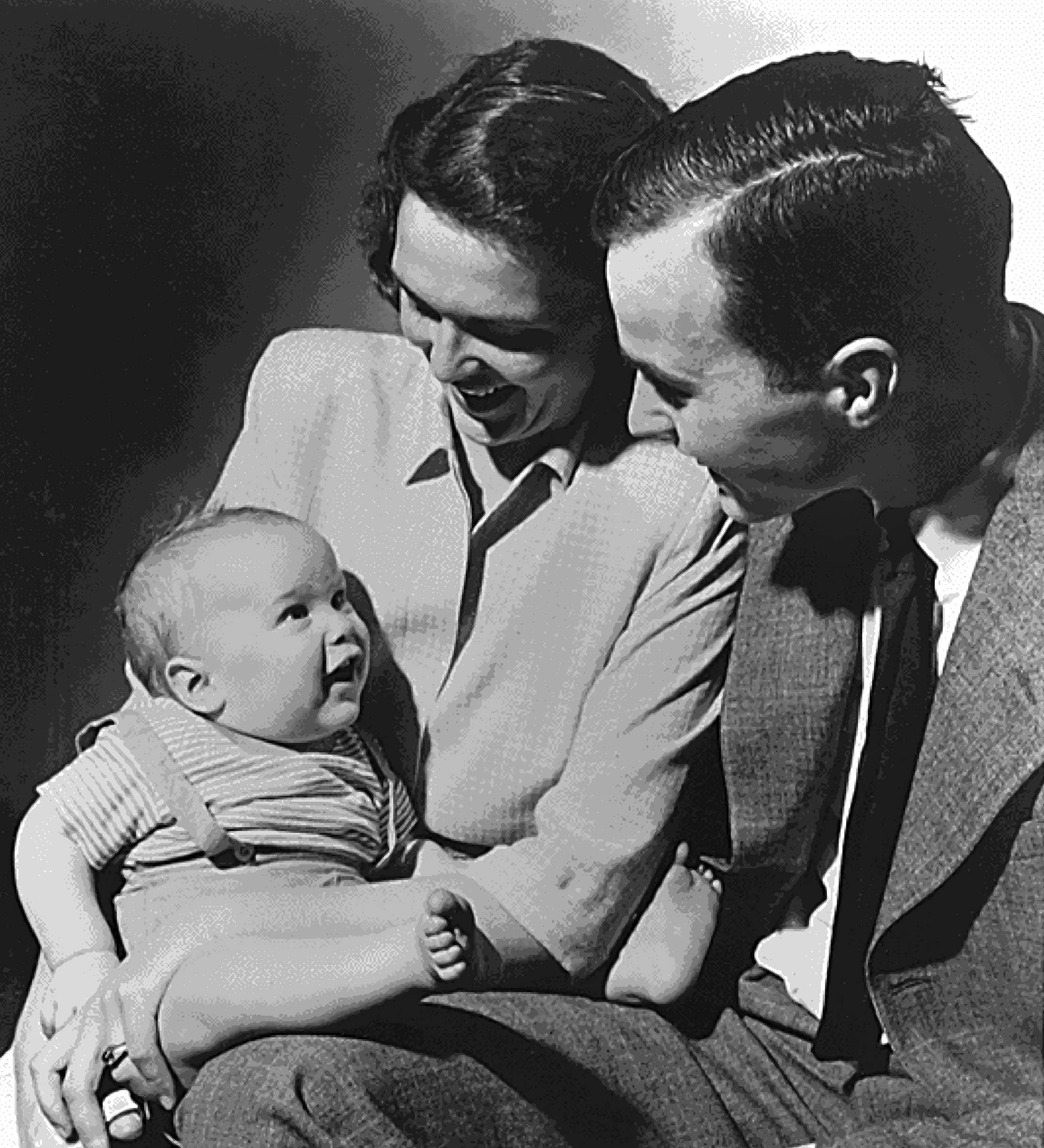George H.W. Bush and his wife Barbara with their first child George Walker Bush in 1947.