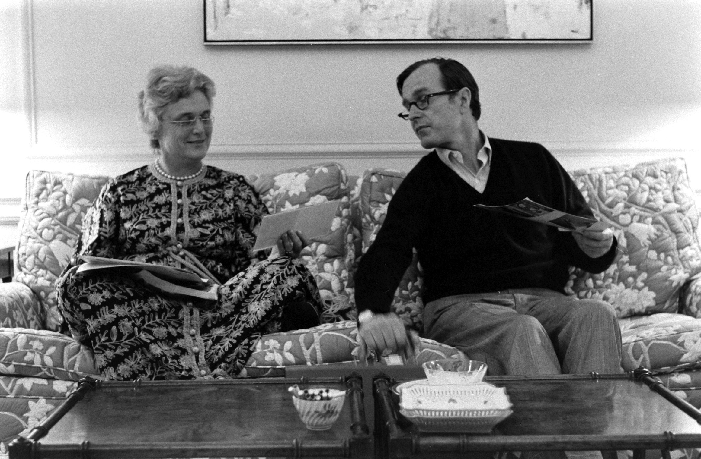George H.W. Bush, then the U.S. Ambassador to the United Nations, with his wife Barbara at home, 1971.
