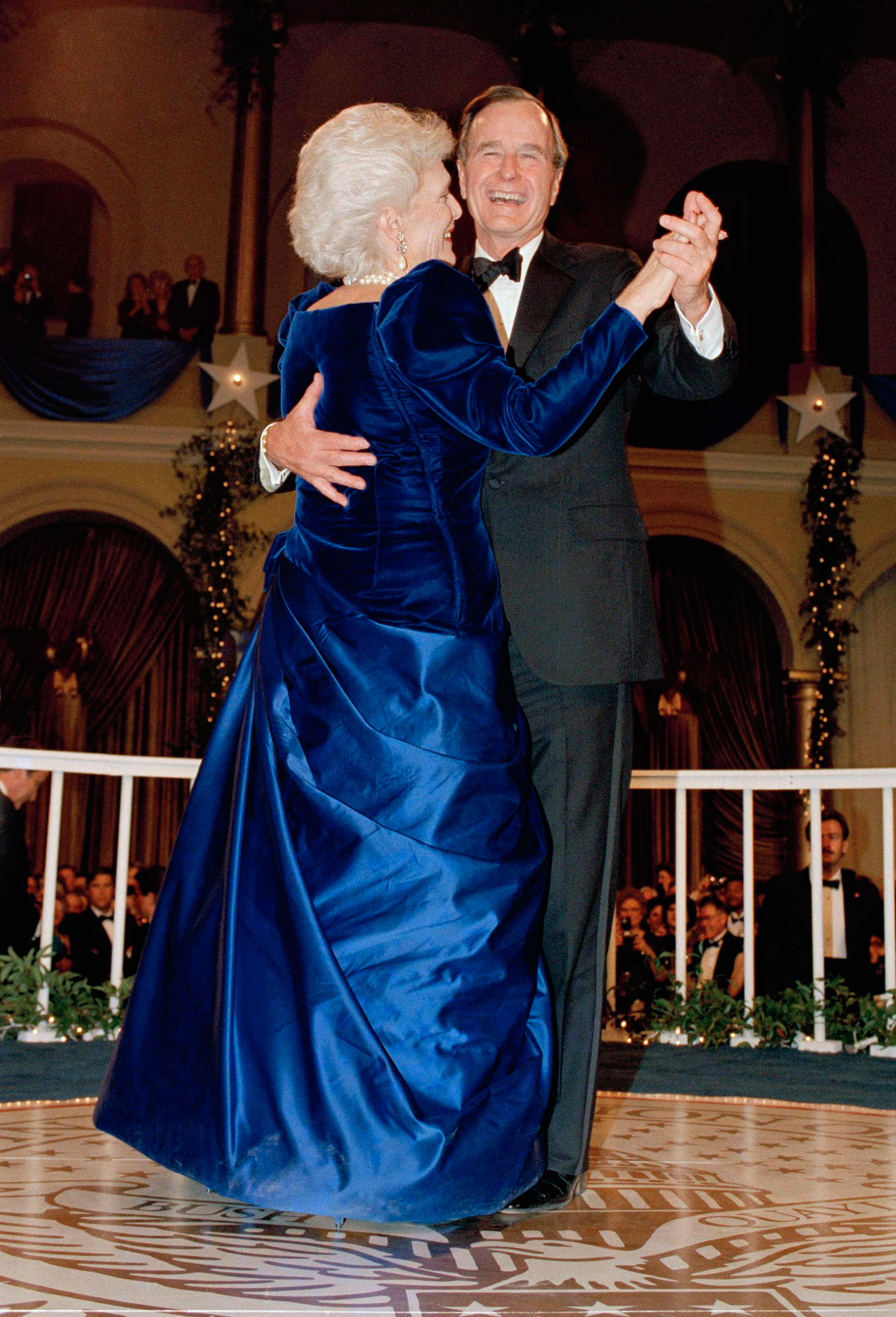 President George H.W. Bush and wife, Barbara dance at the inaugural ball at the Pension Building in Washington, D.C., on Jan. 20, 1989.