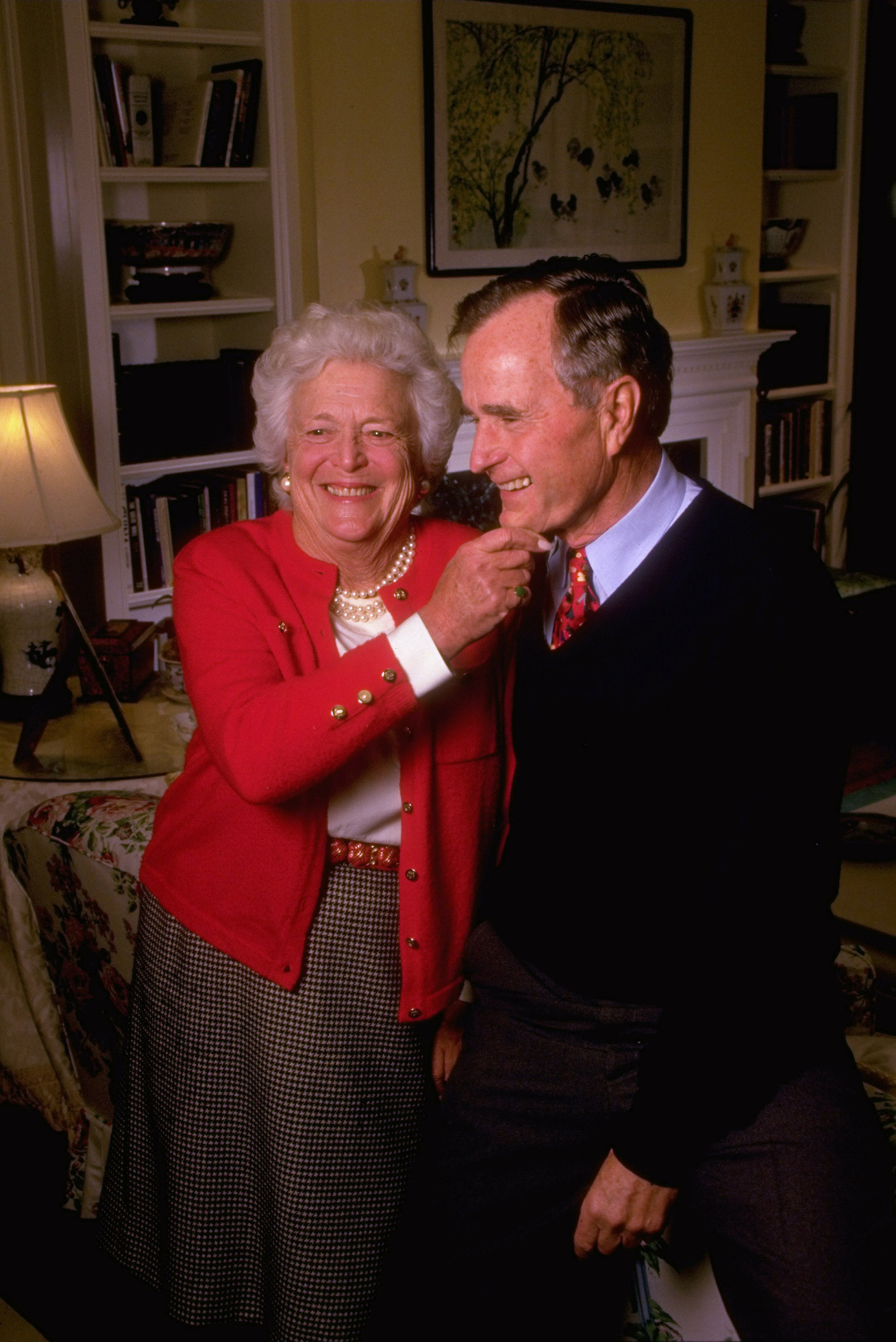 Former First Couple Barbara and George H.W. Bush enjoying life after presidency, in their living room at home in Houston, TX, 1994.