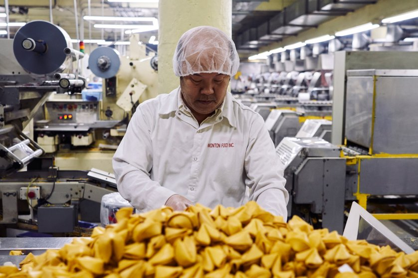 Inside the fortune cookie manufacturing plant of Wonton Food Inc. Brooklyn, New York.Jan. 18, 2017.