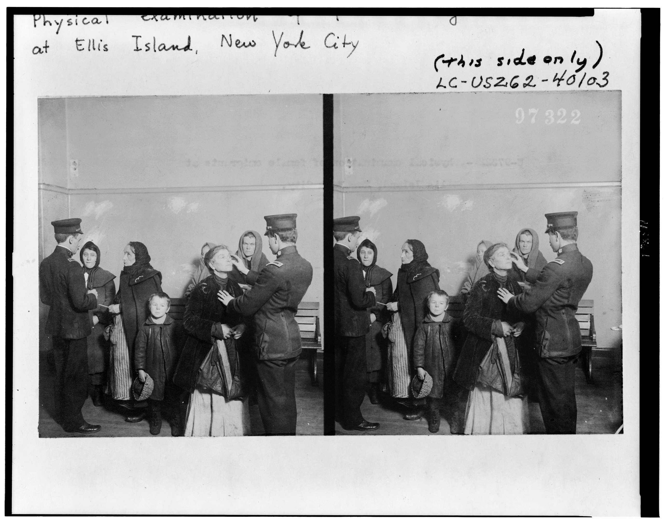 Physical examination of female immigrants at Ellis Island, New York City, circa 1911.