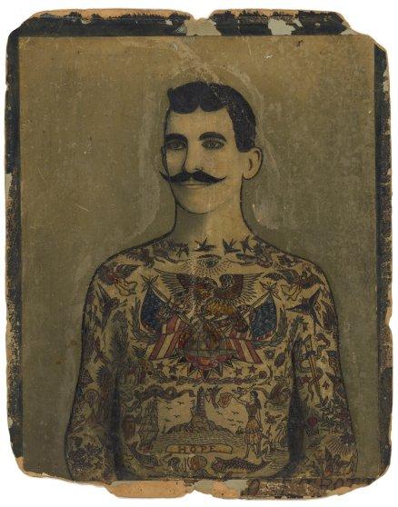 "Augustus ""Gus"" Wagner, Self-Portrait, Tattoo Flash, ca. 1910-1930."