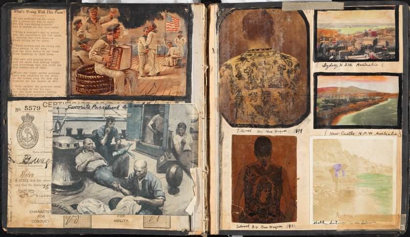 """Page from """"Souvenirs of the Travels and Experiences of the Original Gus Wagner Globe Trotter & Tattoo Artist"""" scrapbook, ca. 1897-1941."""