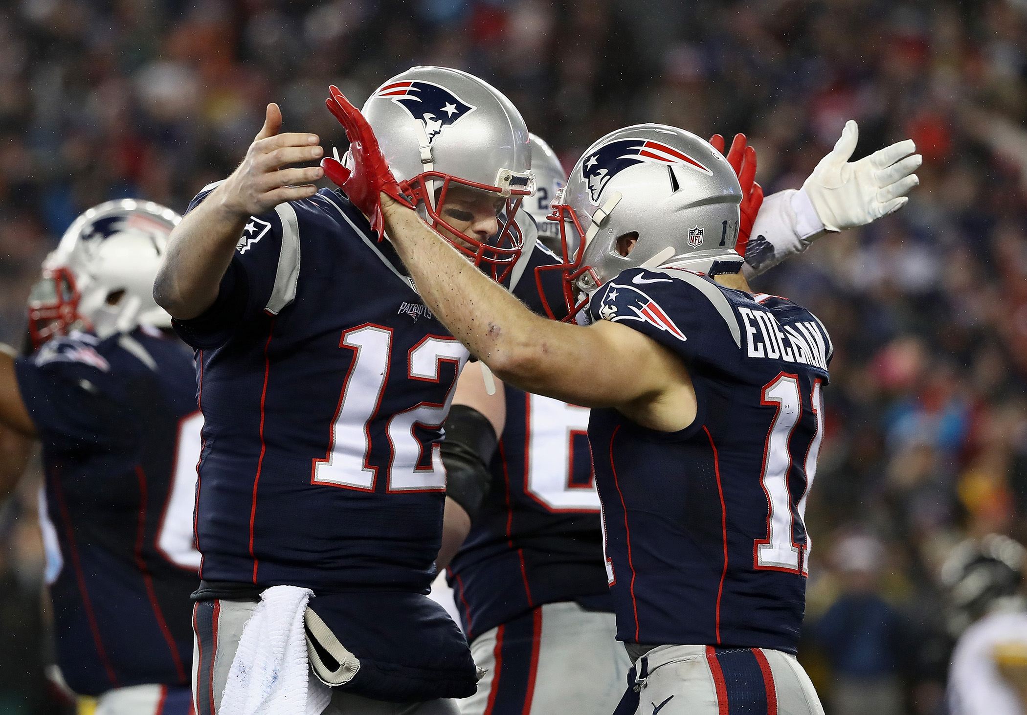 Julian Edelman #11 of the New England Patriots celebrates with Tom Brady #12 after scoring a touchdown during the third quarter against the Pittsburgh Steelers in the AFC Championship Game at Gillette Stadium on January 22, 2017 in Foxboro, Massachusetts.