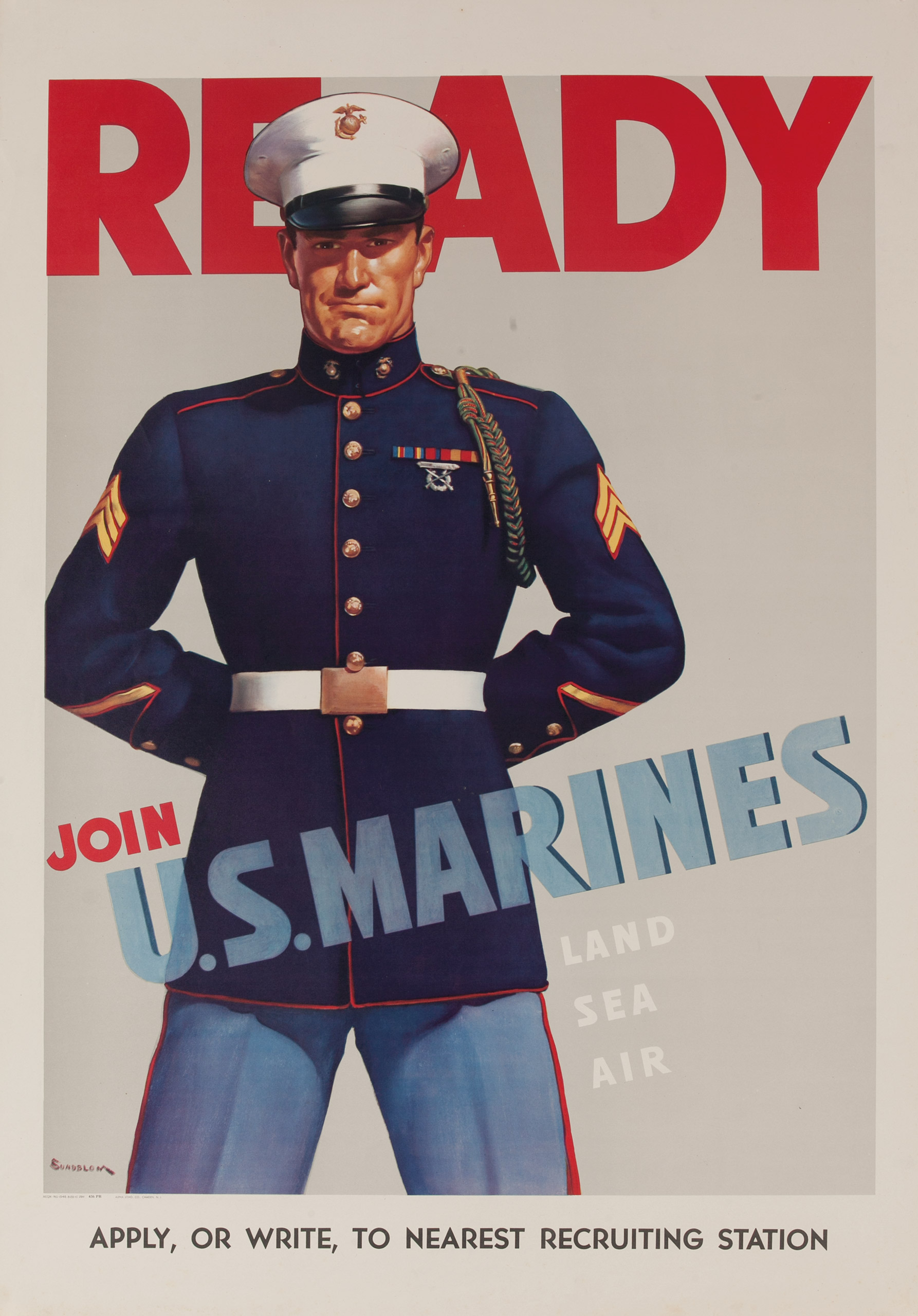 Ready, Join U.S. Marines, Land Air Sea. 1942