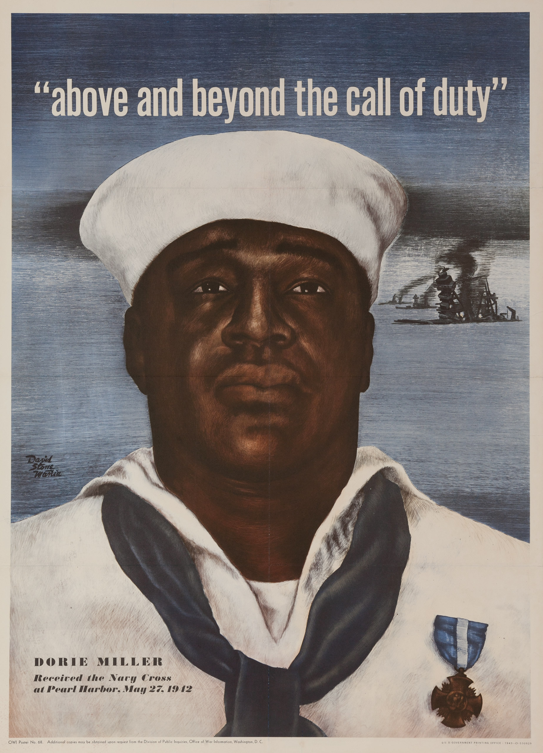 Above and Beyond the Call of Duty.  OWI poster no. 68, U.S. Government Printing Office, 1943.