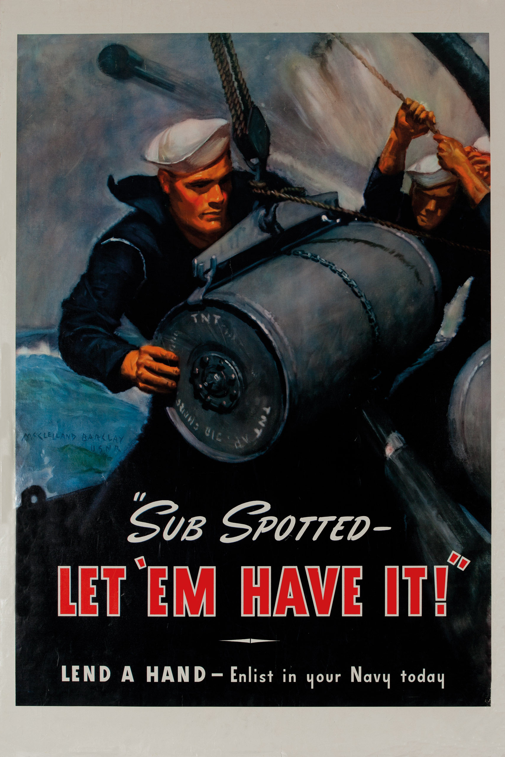 Sub Spotted—Let 'Em Have It!  Ca. 1942.