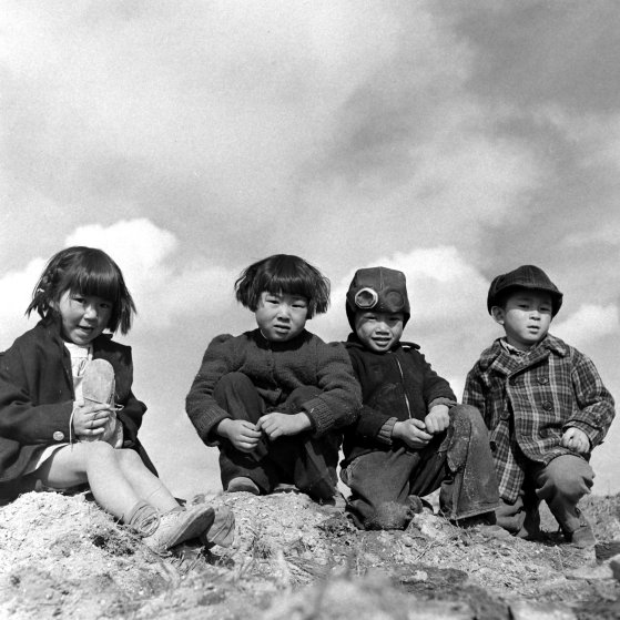 Japanese Americans at the Tule Lake segregation center in 1944.