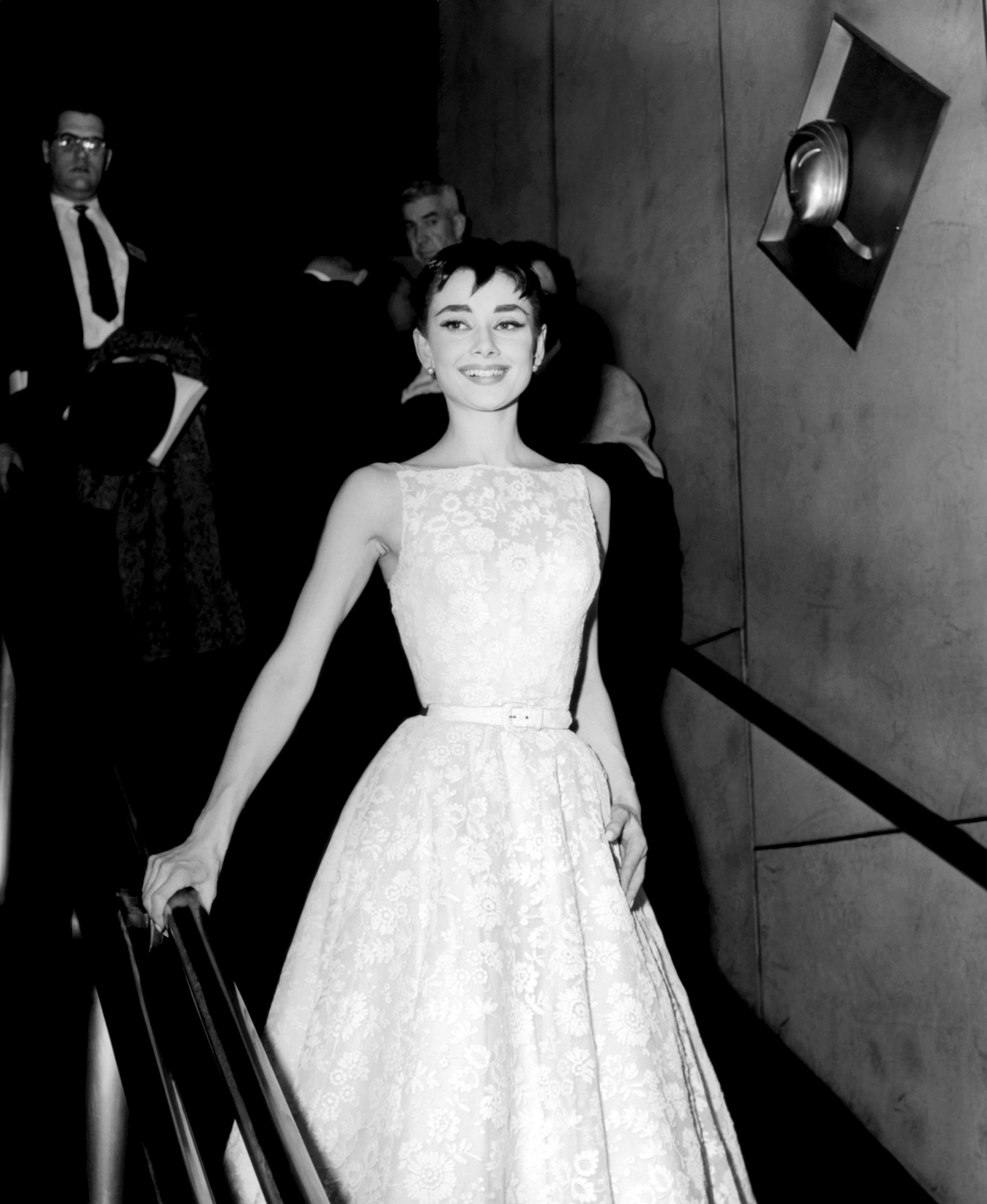 Audrey Hepburn, wearing a Givenchy gown, at the Academy Awards, 1954.