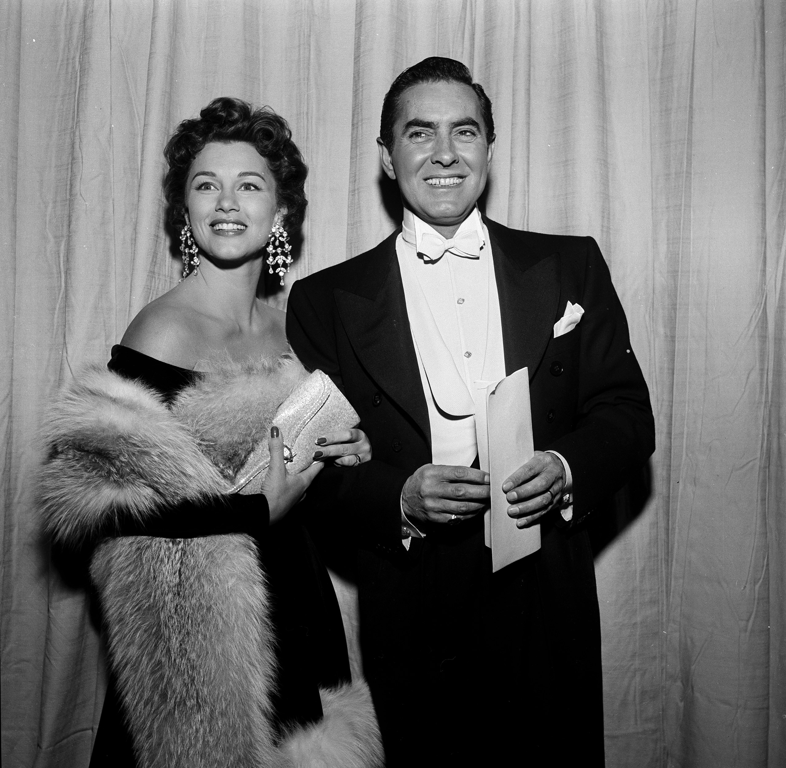 Tyrone Power and his wife Linda Christian at the Academy Awards, 1954.