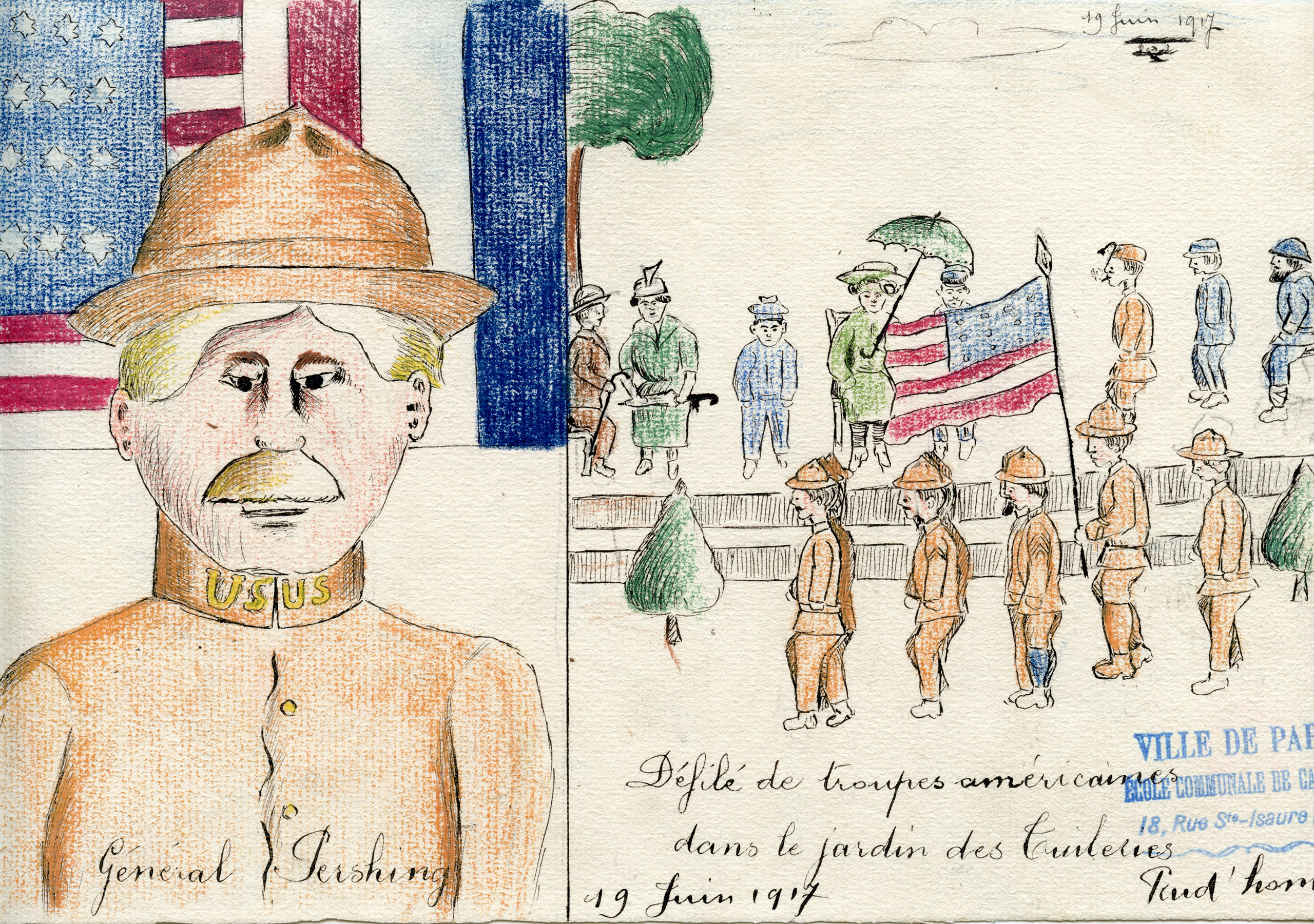 In this drawing, the school child depicts two images. On the right side, American soldiers parade in the Tuileries Park in Paris, while on the left, a bust of General Pershing appears before a careful rendering of the American and French flags, a reference to the two nations' relationship.