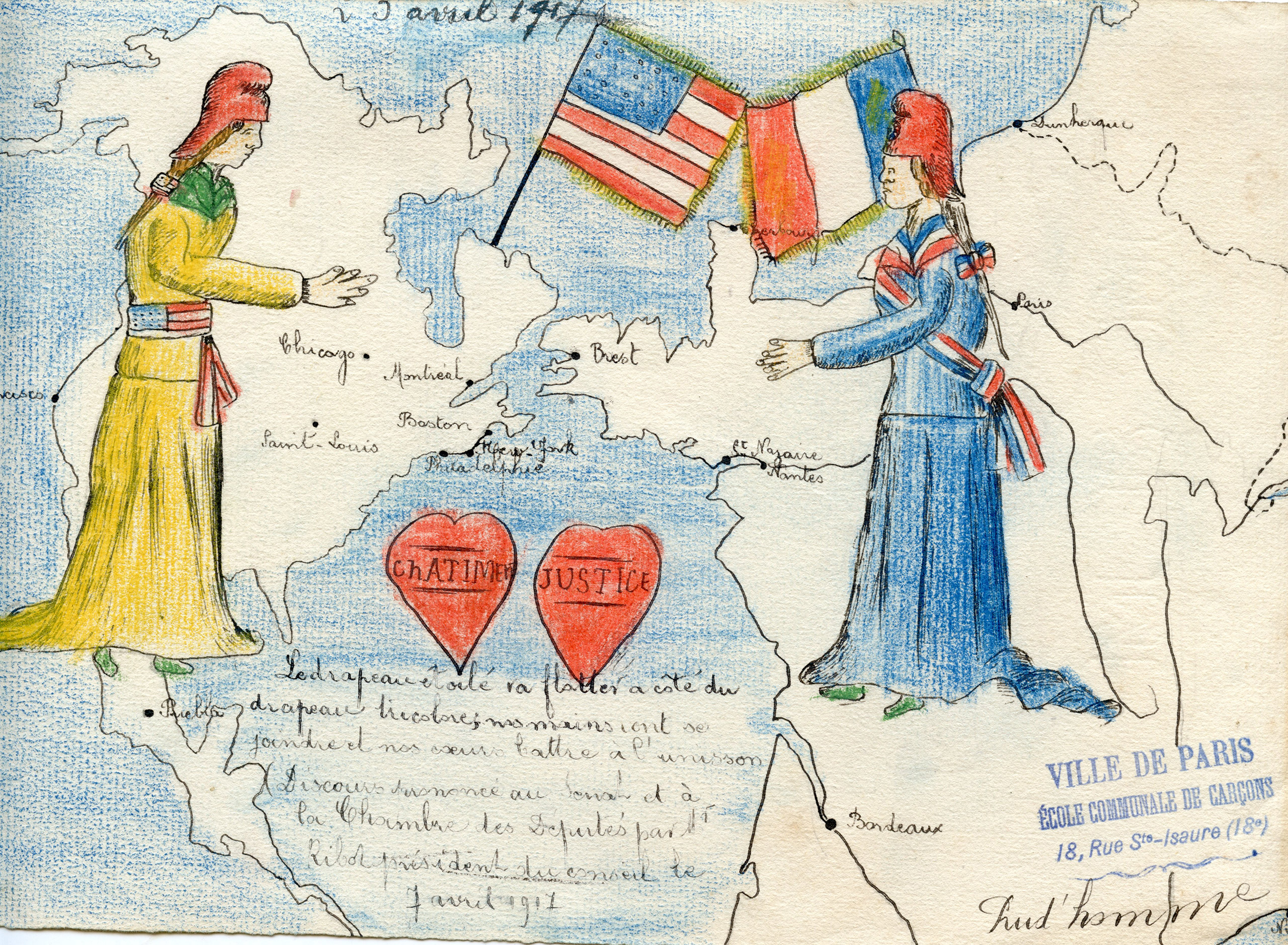 The French schoolchildren often chose to draw allegorical figures that emphasized the enduring relationship between France and the United States. In this image, Columbia representing America and Marianne representing France reach out to each other in a gesture of solidarity, while each of their nations' flags appear to fuse together, further emphasizing the two countries' unity.