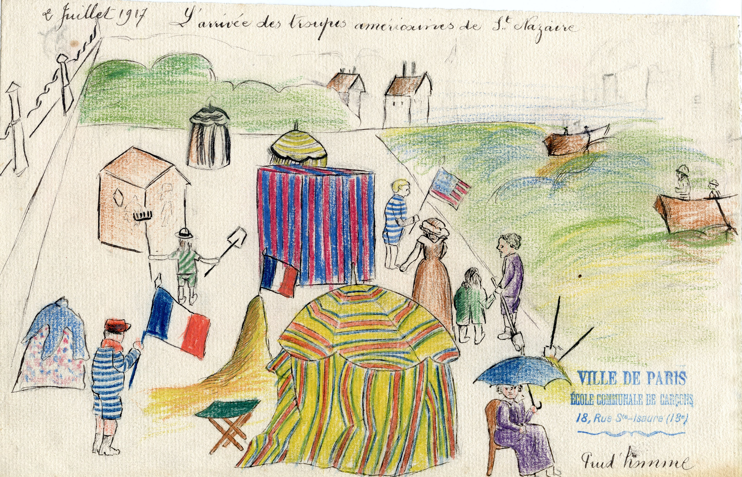 The arrival of American troops was met with great anticipation and fanfare by the French. In this drawing, brightly colored tents and a smattering of people of all ages wait for the Americans at the seaport of Saint-Nazaire waving the French and American flags as an official welcome to France.