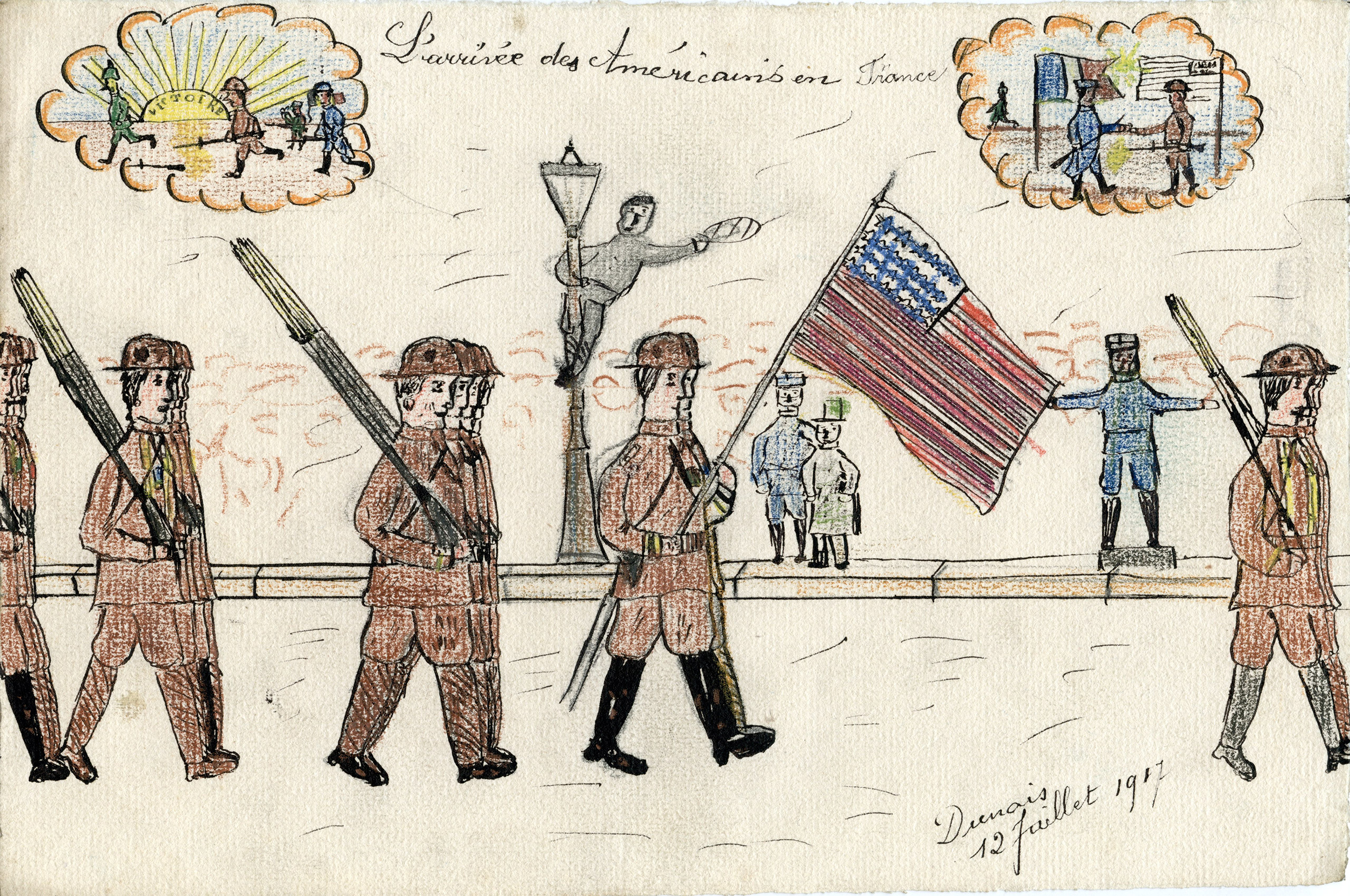 In this drawing, American troops march and proudly wave the American flag, as Parisian onlookers watch with excitement. An exuberant bystander dramatically swings from a lamppost, seeming to encourage the soldiers onwards. At the top of the image, two cloud-like vignettes depict what appears to be in one scene a triumph over the Germans, while the other appears to support the Franco-American alliance.