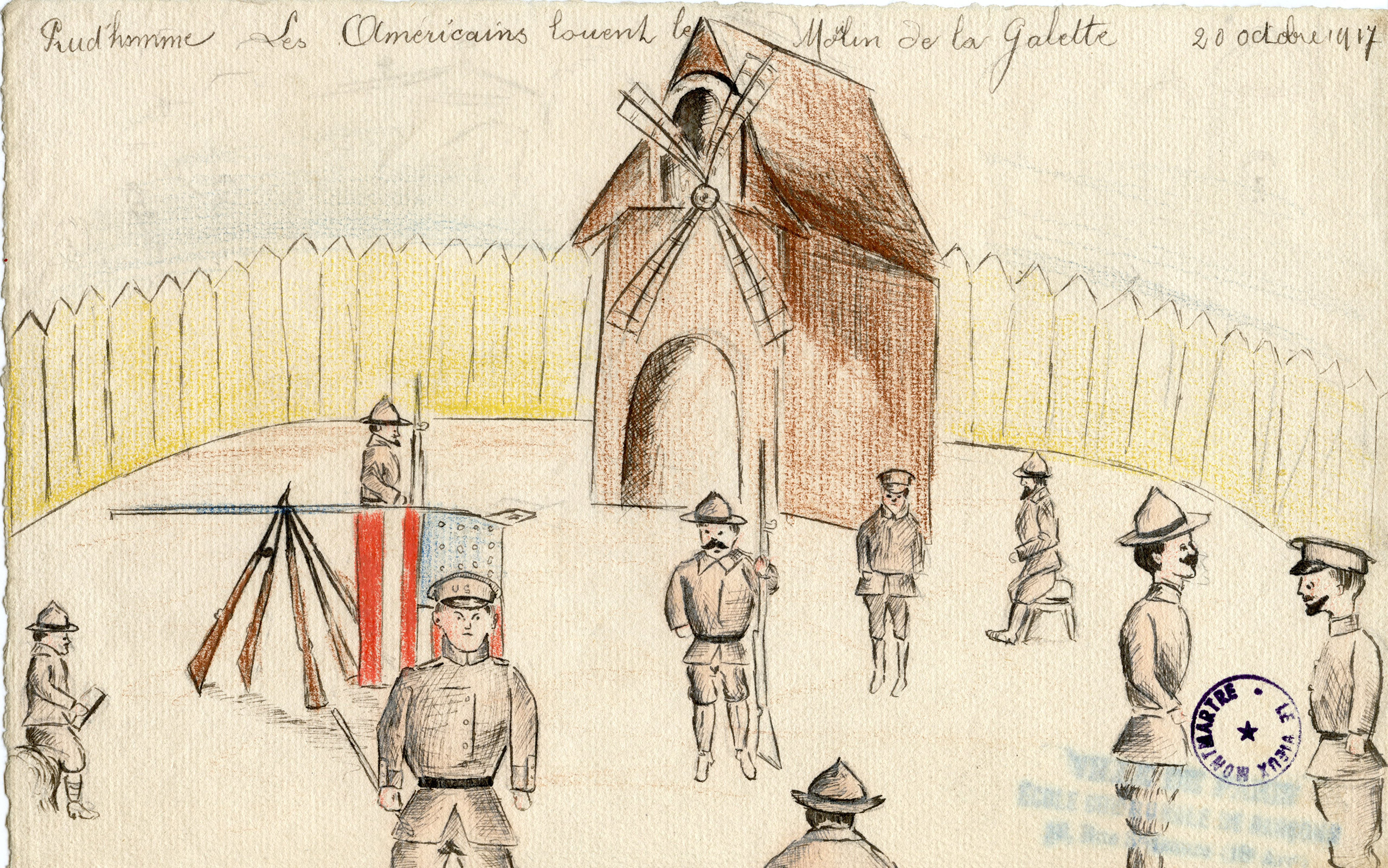 """This drawing depicts the famous Montmartre landmark, which speaks to how this child sought to personalize and imagine how his neighborhood played a pivotal role in the American soldiers' training. In a comical turn, the text states that the Americans have """"rented"""" the space."""