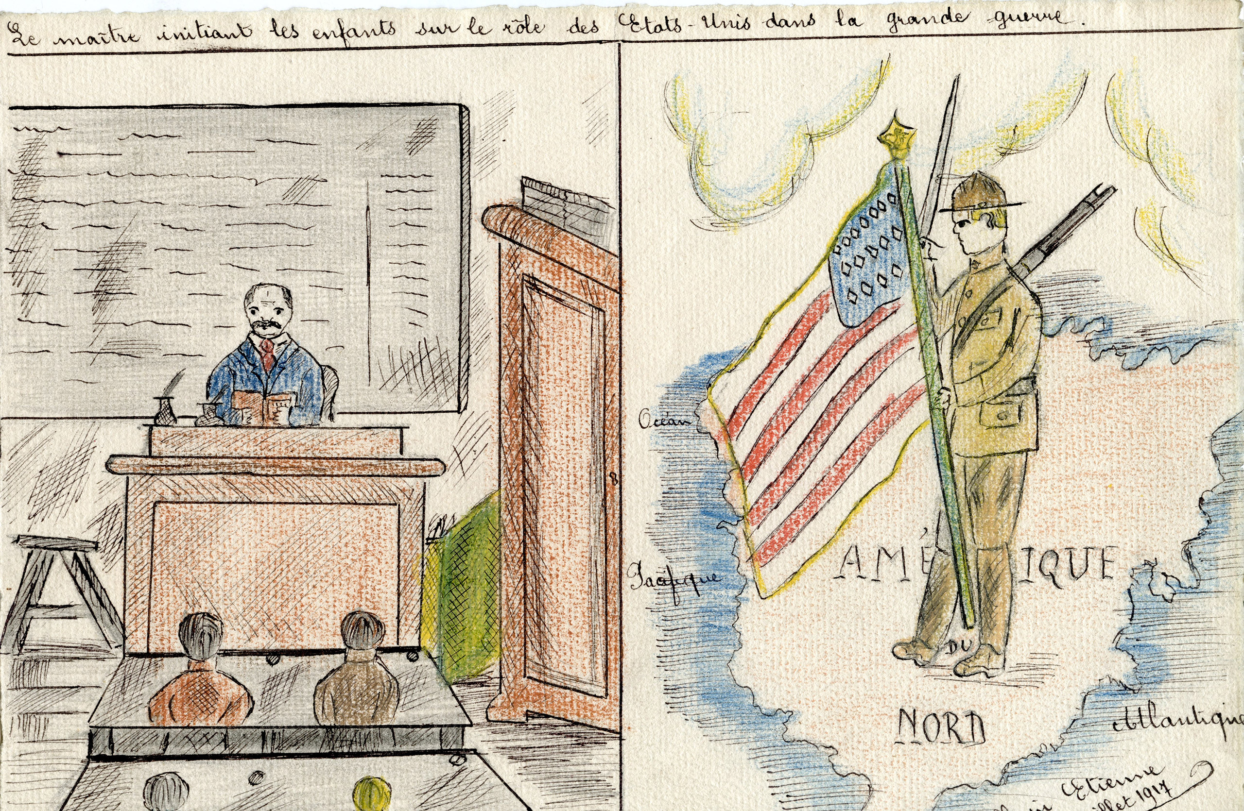 The role of the public school was pivotal in educating students on how to be model French citizens. It also provided them the opportunity to express how the war impacted their lives through the act of drawing.