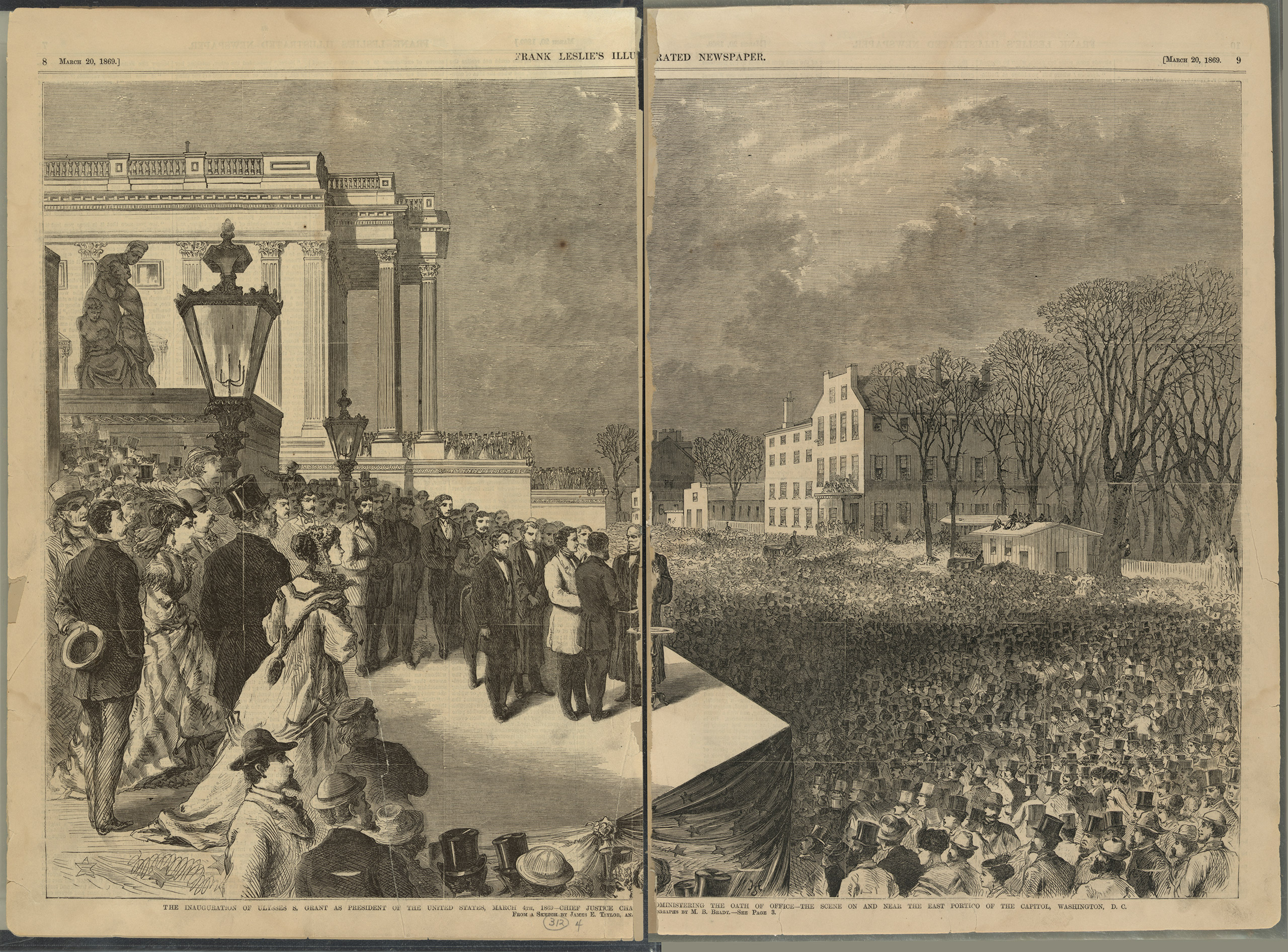 Ulysses S. Grant and Schuyler Colfax taking the oath of office administered by Chief Justice Salmon P. Chase on the east portico of the U.S. Capitol in Washington, D.C., March 4th 1869, before a large crowd.
