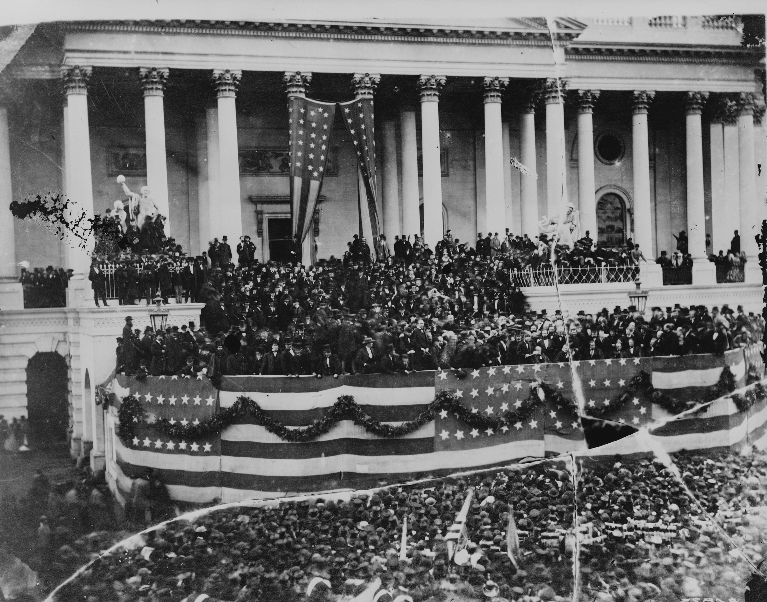 President Ulysses S. Grant delivering his inaugural address on the east portico of the U.S. Capitol, March 4, 1873. Photo by Matthew Brady.