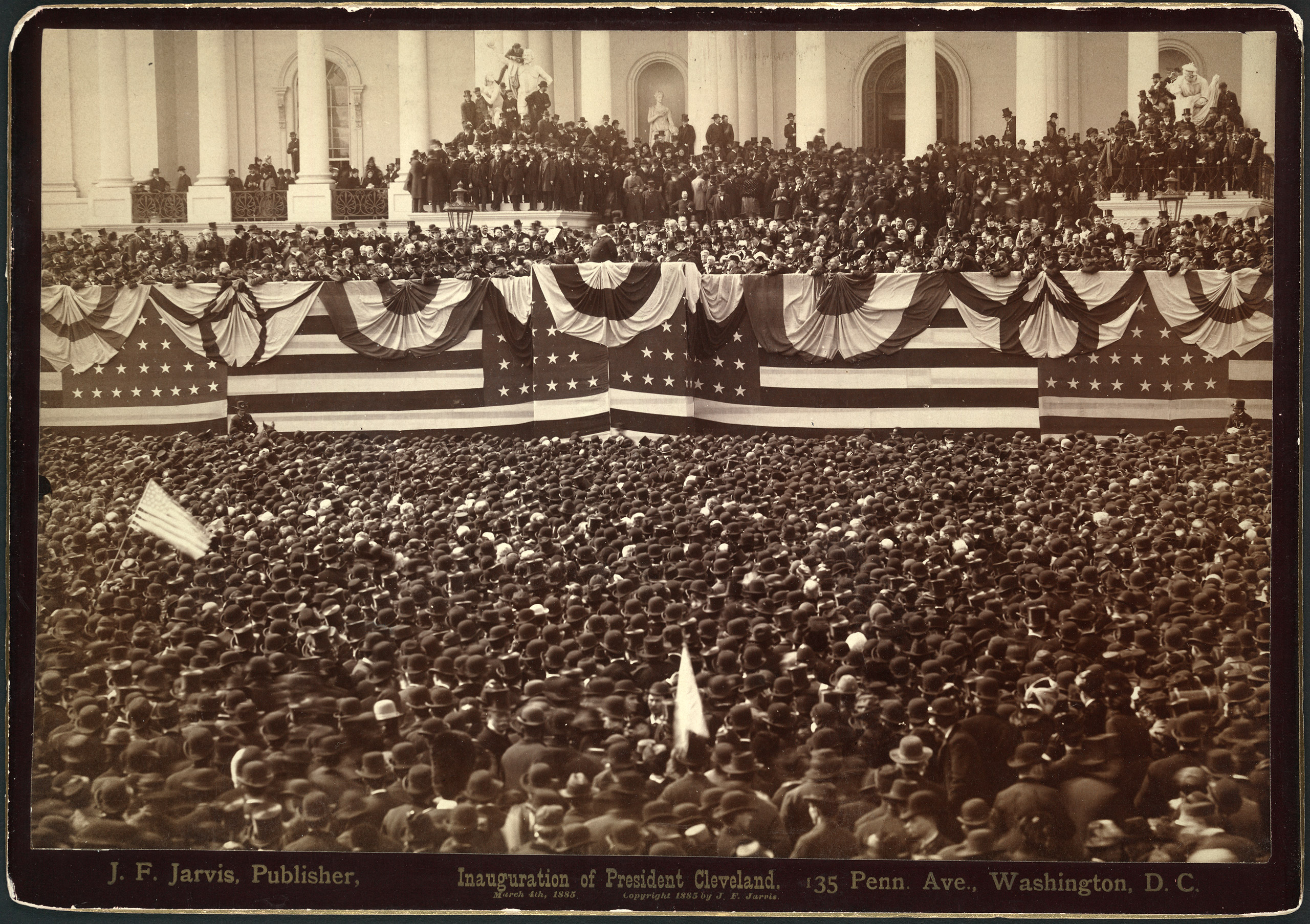 Grover Cleveland, delivering his inaugural address to crowd on east portico of U.S. Capitol at his first inauguration, 1885.