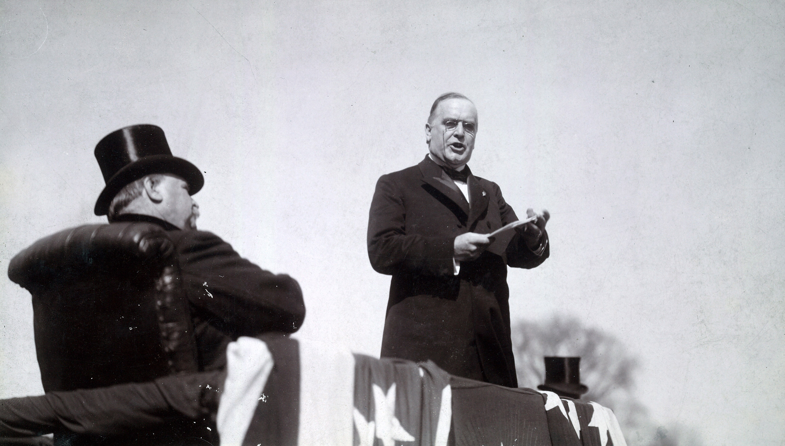William McKinley delivering his inaugural address, 1897.