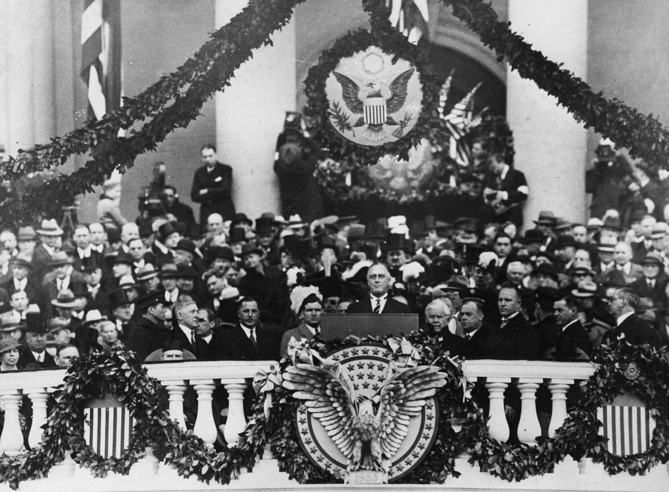 Franklin Delano Roosevelt giving his first inaugural address as 32nd President, 1933.