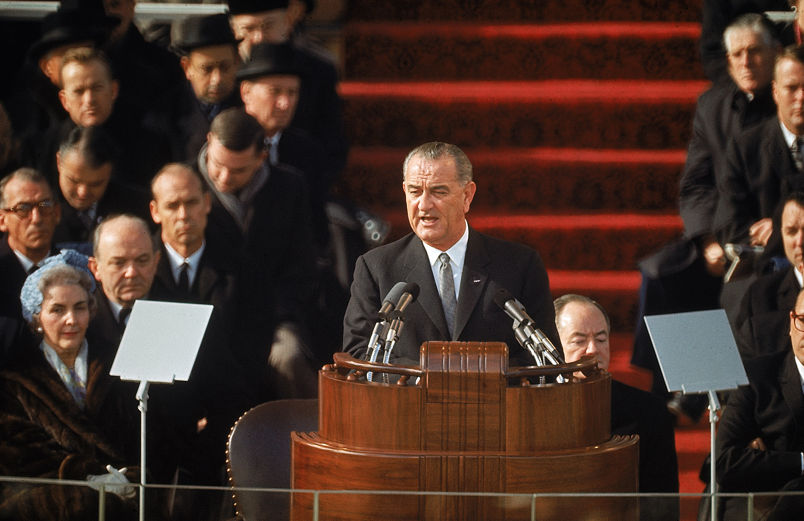 President Lyndon Johnson speaking at his second inauguration, 1965