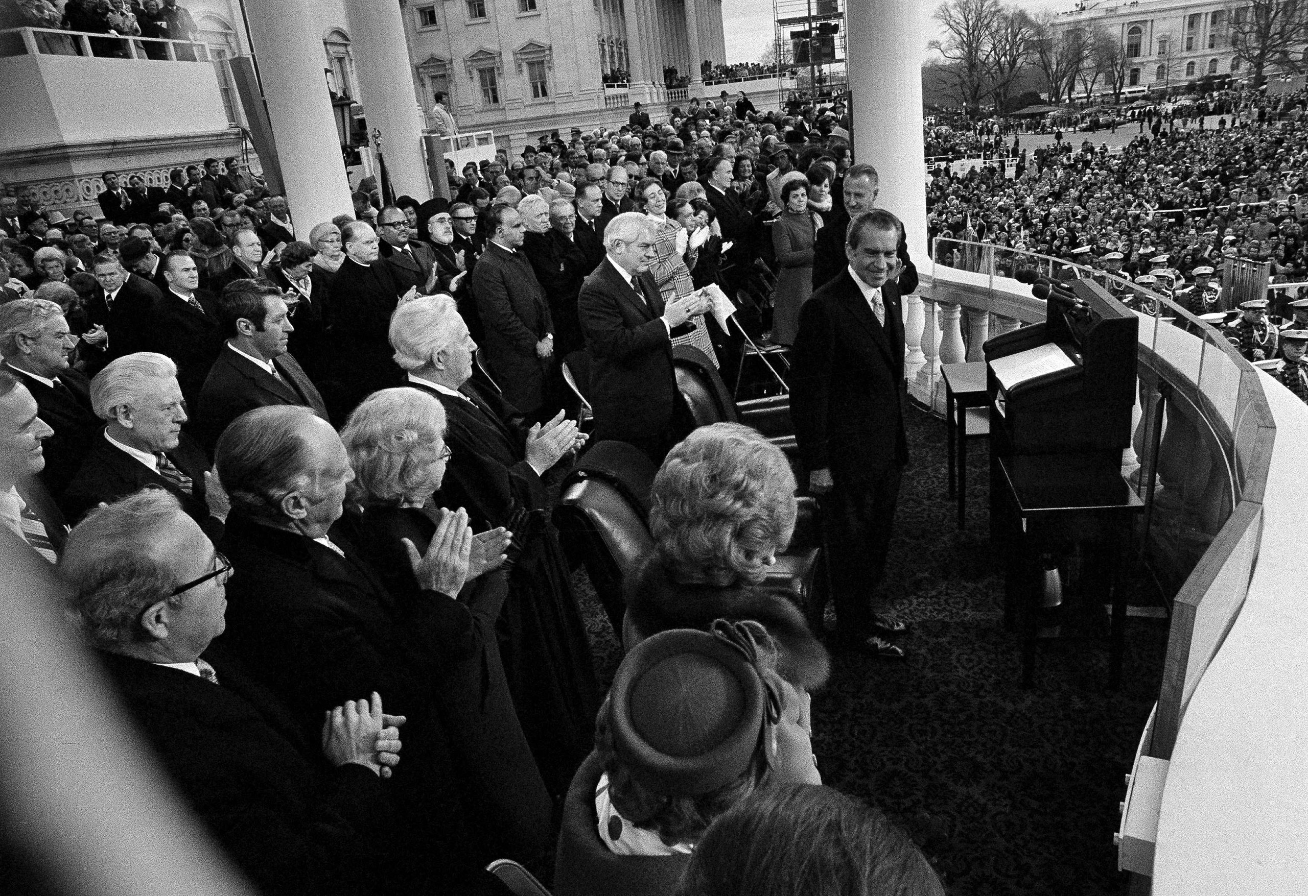 President Richard Nixon acknowledges the applause after delivering his inaugural address during his second inauguration at the Capitol in Washington, D.C., Jan. 20, 1973.