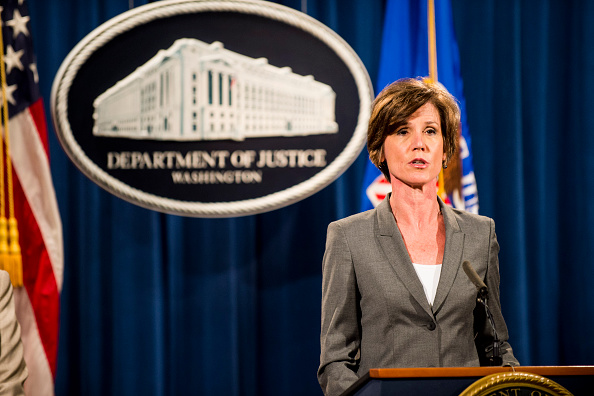 Sally Yates speaks during a press conference at the Department of Justice on June 28, 2016 in Washington, DC.