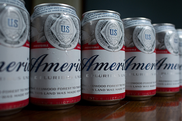 Cans of Budweiser, rebranded as 'America,' on a table